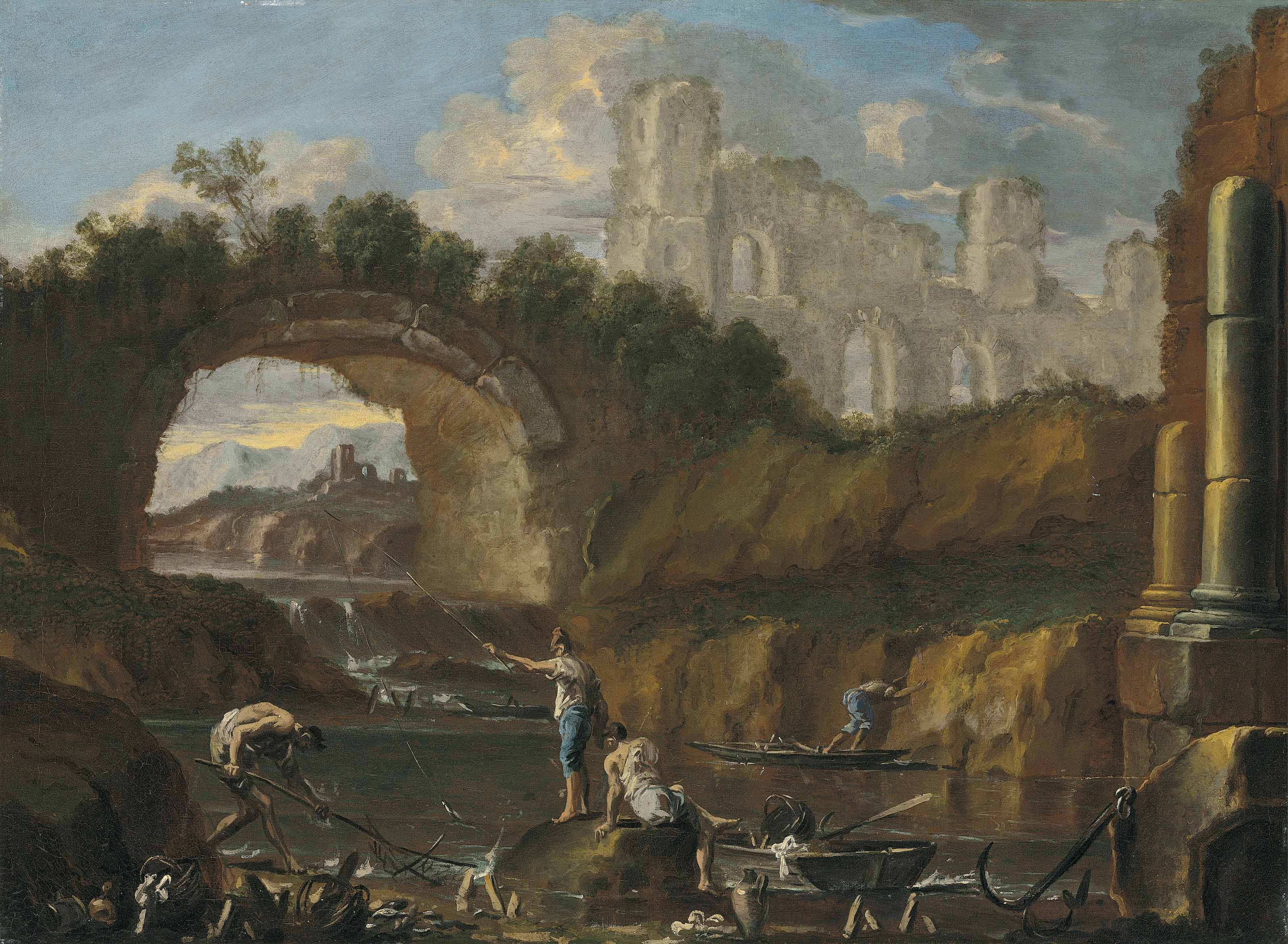 A river landscape with fishermen among ruins