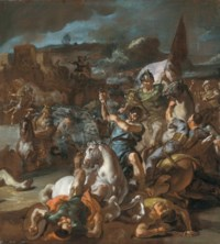 The defeat of Darius by Alexander the Great at the Battle of Issus