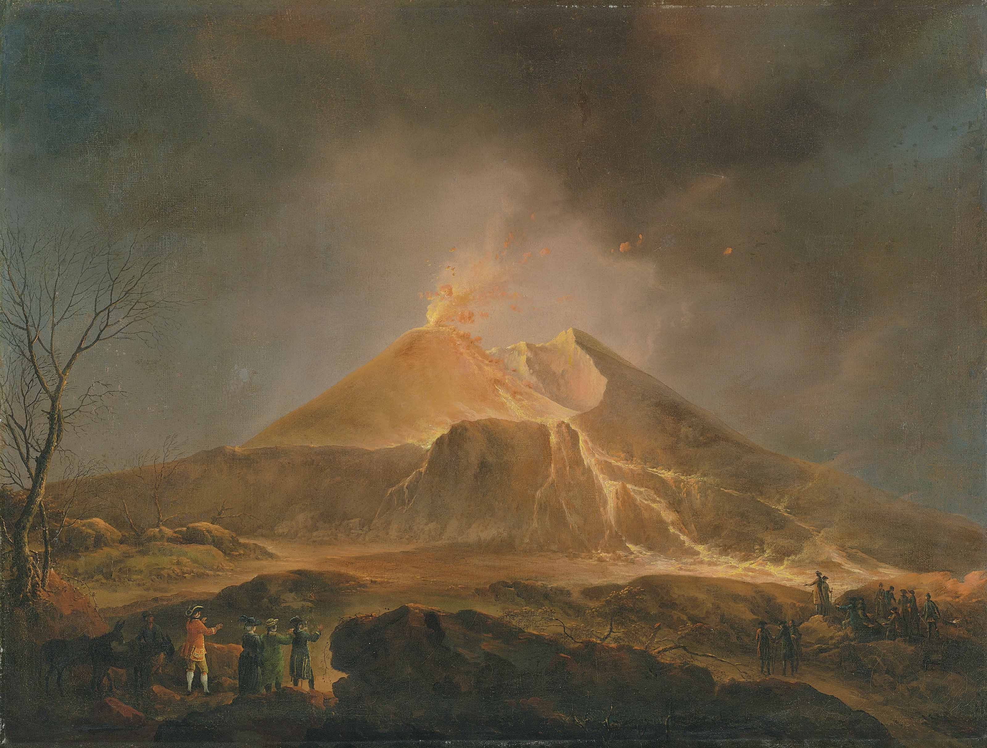 A view of Vesuvius erupting with Sir William Hamilton observing from afar with his crew, the painter on the right