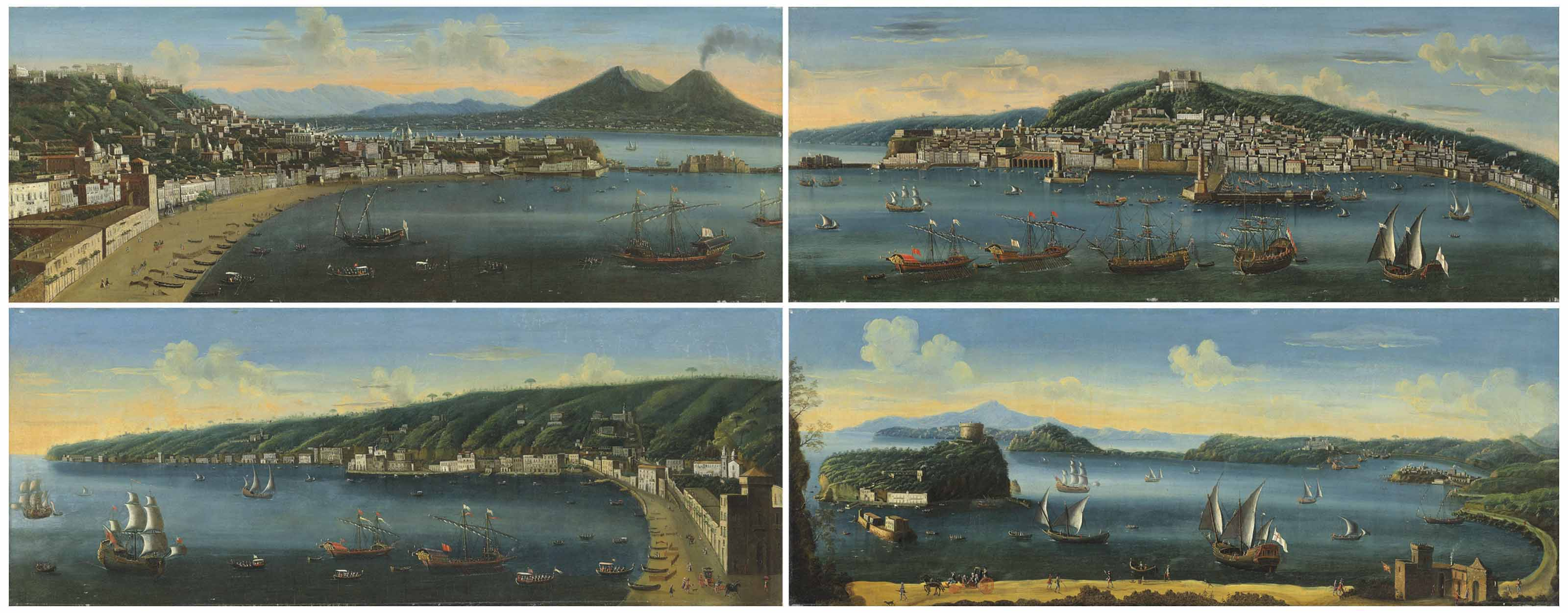 A set of four views of Naples: Naples, a view of the bay taken from Posillipo looking towards Mount Vesuvius; Naples, seenfrom the Castel Dell'Ovo, with the Riviera di Chiaia and Posillipo beyond; Naples, seen from the bay, with the Molo Grande in the centre and the Castel Dell'Ovo; Naples, a view of the Gulf of Pozzuoli and the Port of Baia