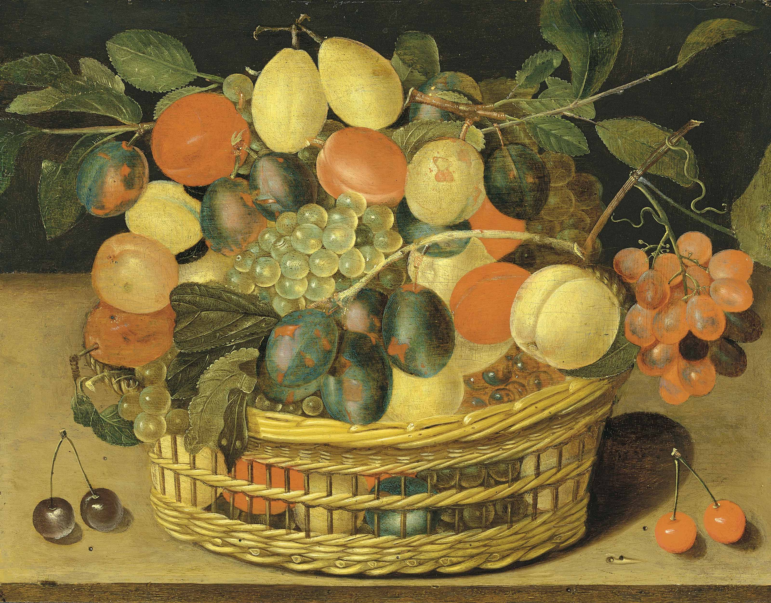 A basket of grapes, plums and peaches on a ledge