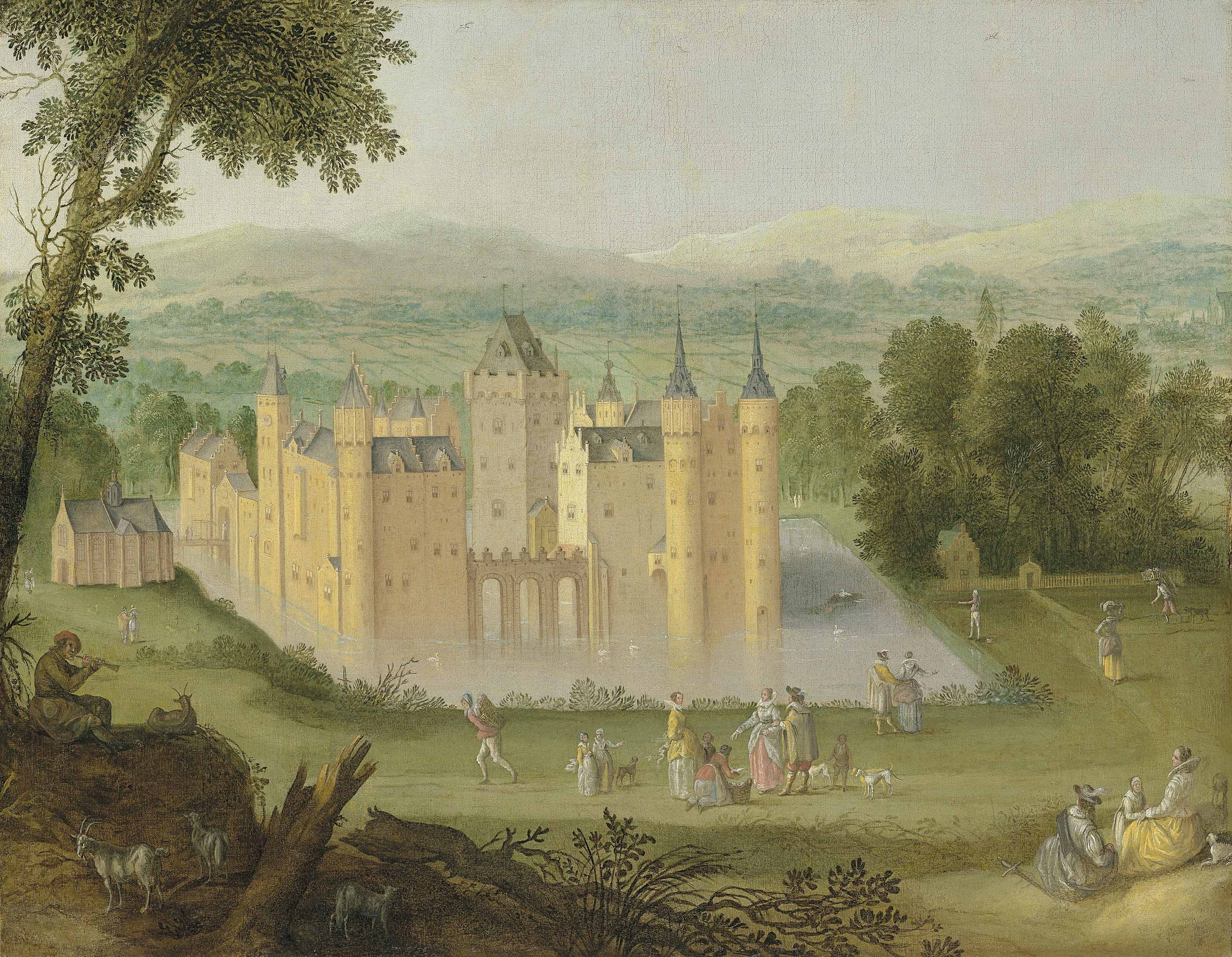 The Castle of Egmond aan den Hoef, with elegant company in the foreground