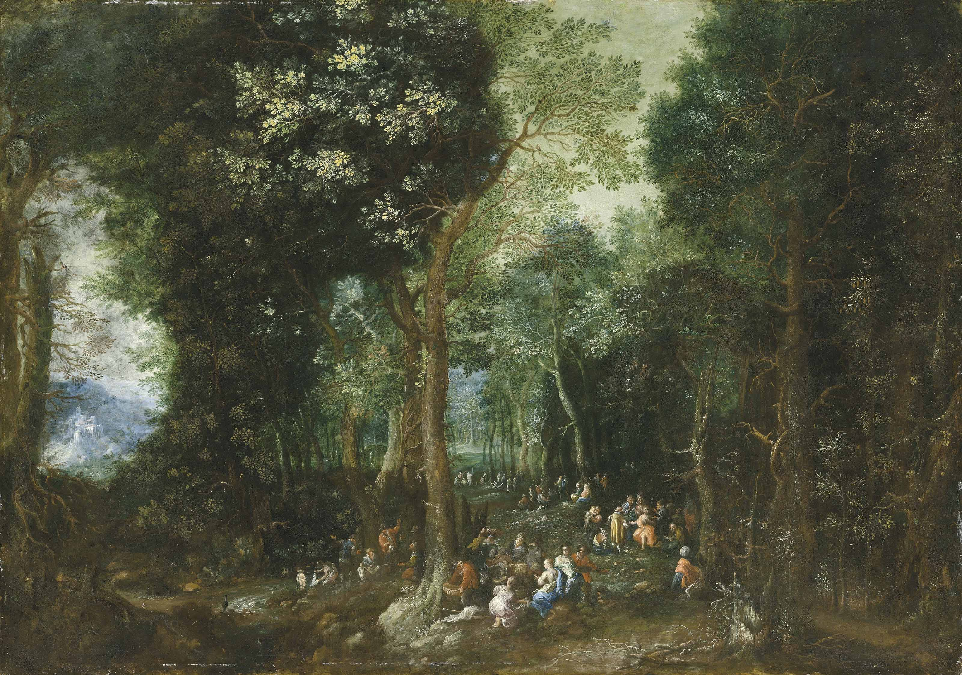 A wooded landscape with Saint John the Baptist preaching