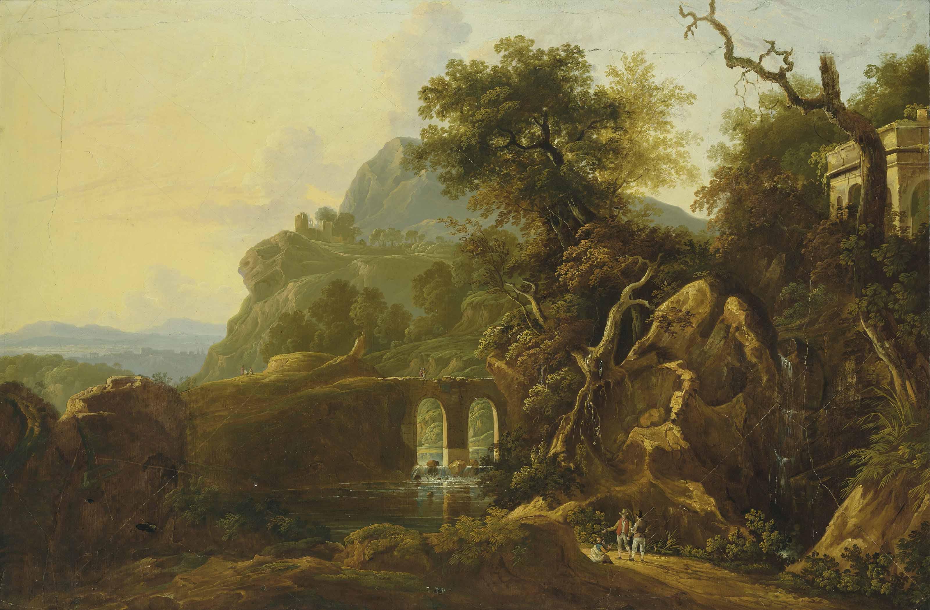 A mountainous river landscape with figures