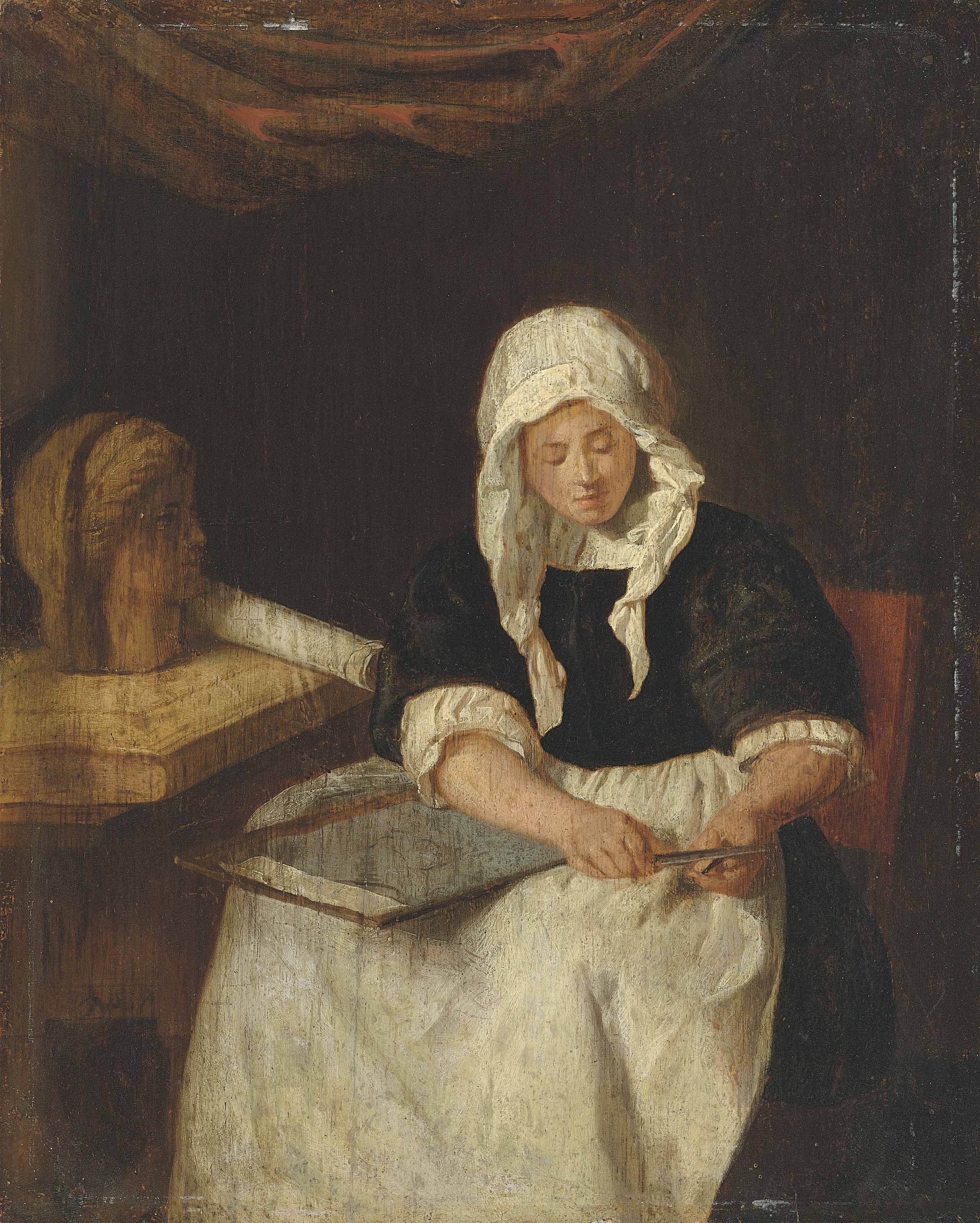 A woman in an interior drawing from a female bust on a table