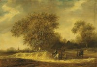 A wooded landscape with riders at rest