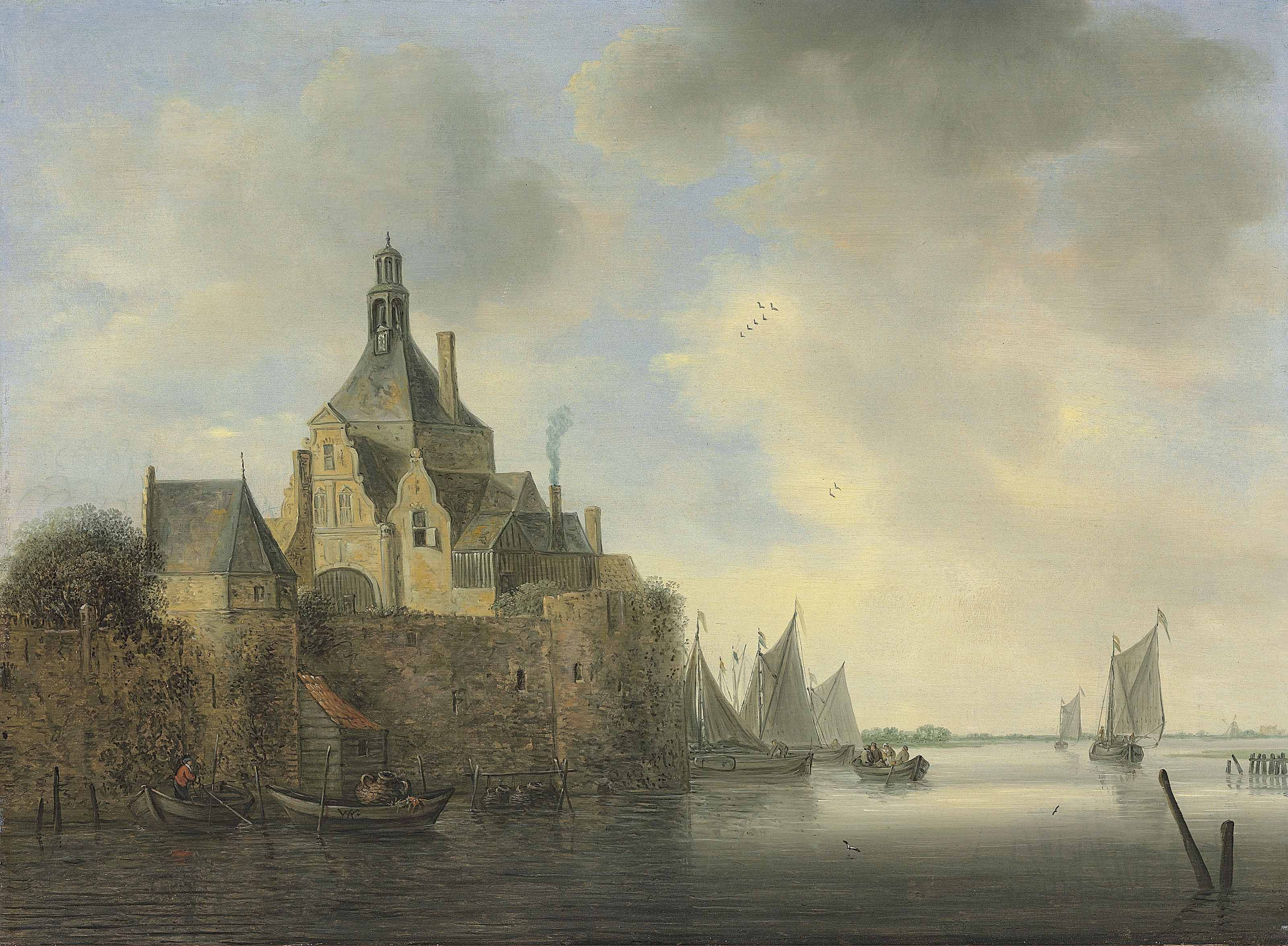 A seascape with boats by a fortified village