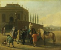 A hunting party by a manor house