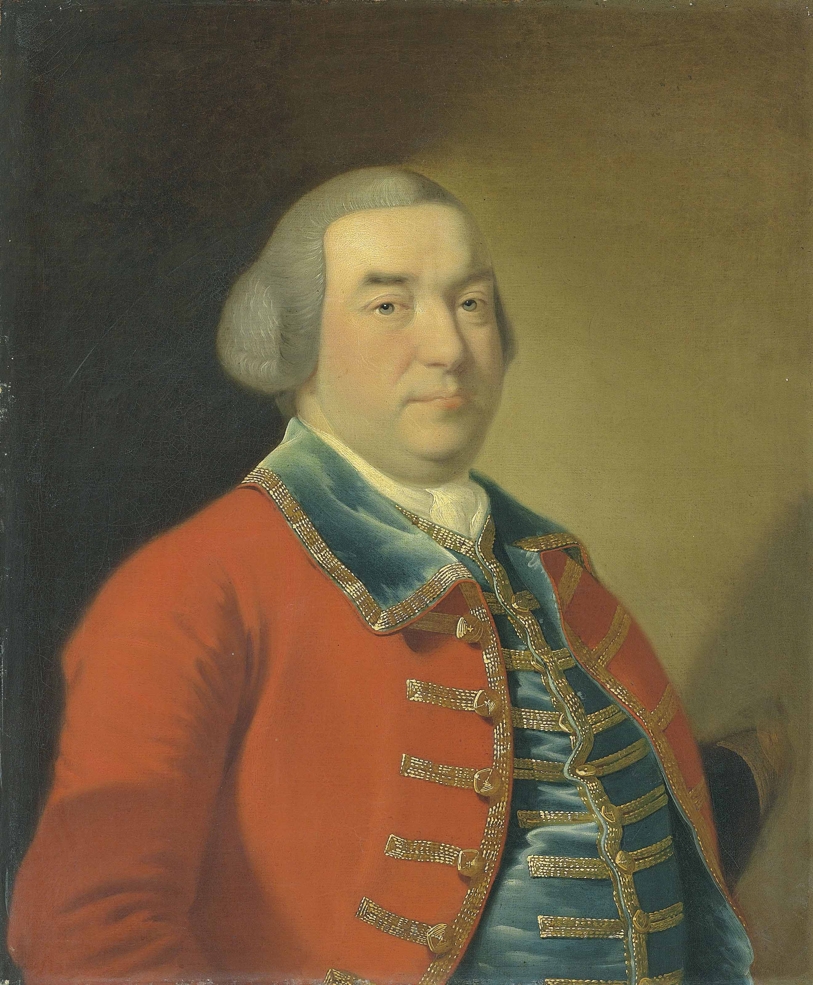 Portrait of Captain William Kirke (1715-1773), bust-length, in a red military coat and blue waistcoat with gold embroidery