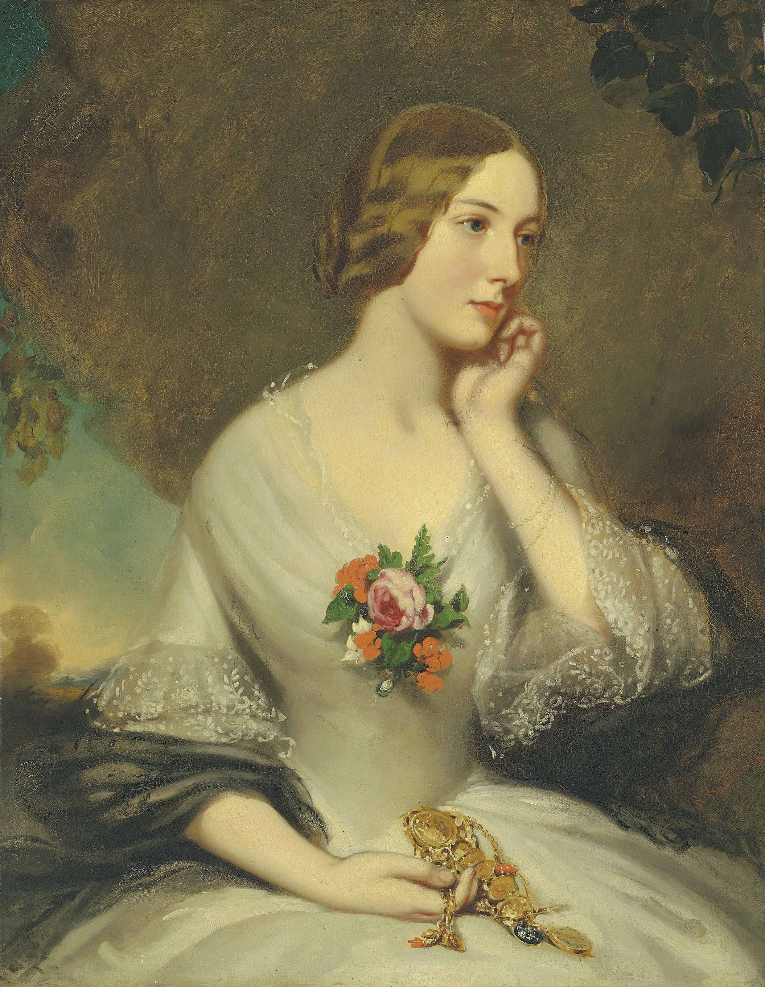 Portrait of Elizabeth Baring, née Sturt (1827-1867), wife of Thomas George Baring, 1st Earl of Northbrook, half-length, in a landscape