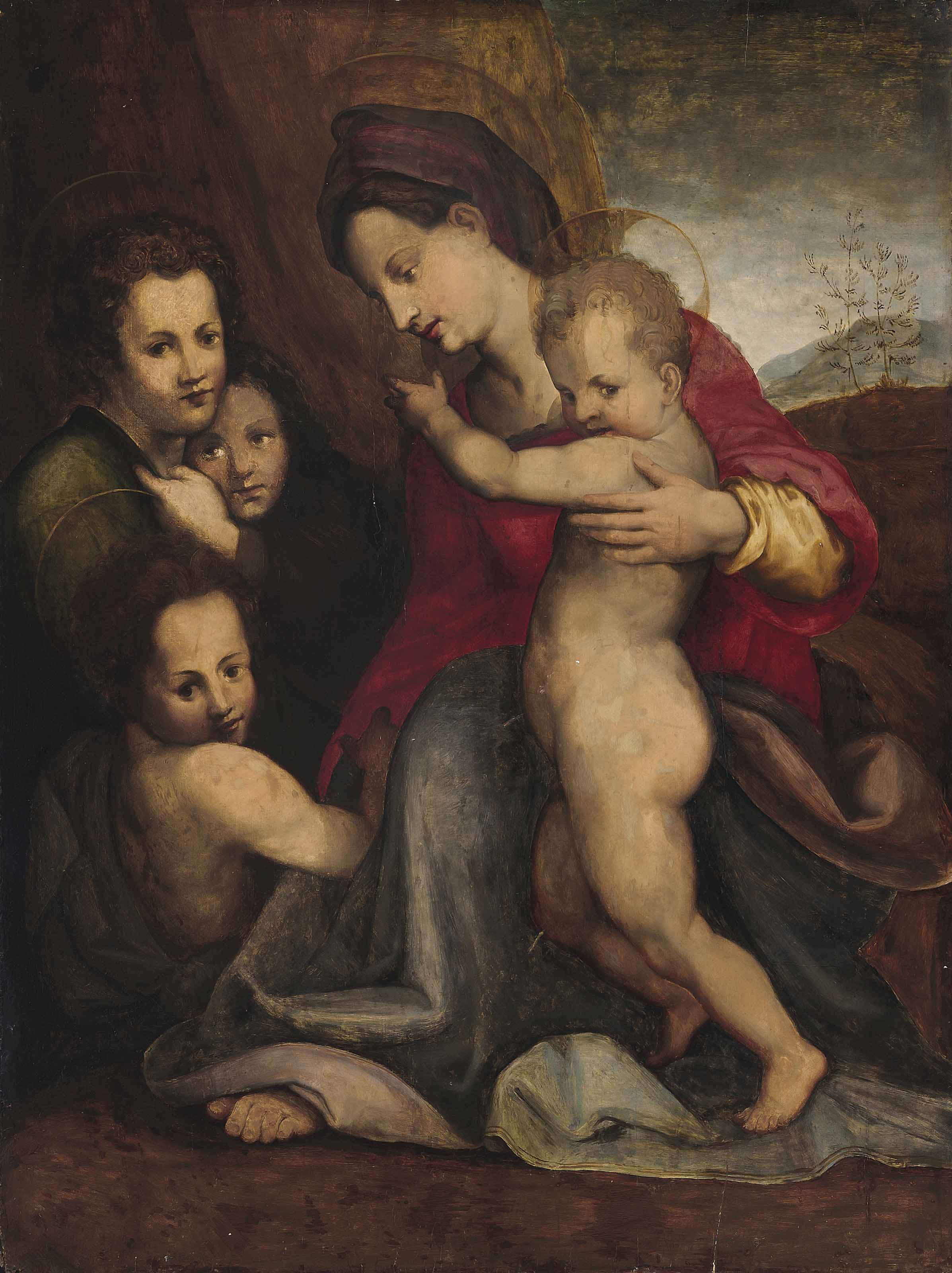 The Madonna and Child with the Infant Saint John the Baptist and two angels