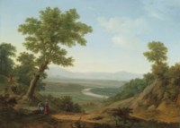 The slopes of Monte Mario, Rome, with the Tiber looking upriver and the Milvian Bridge beyond