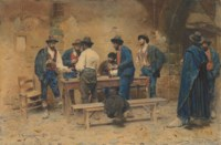 A group of men playing morra