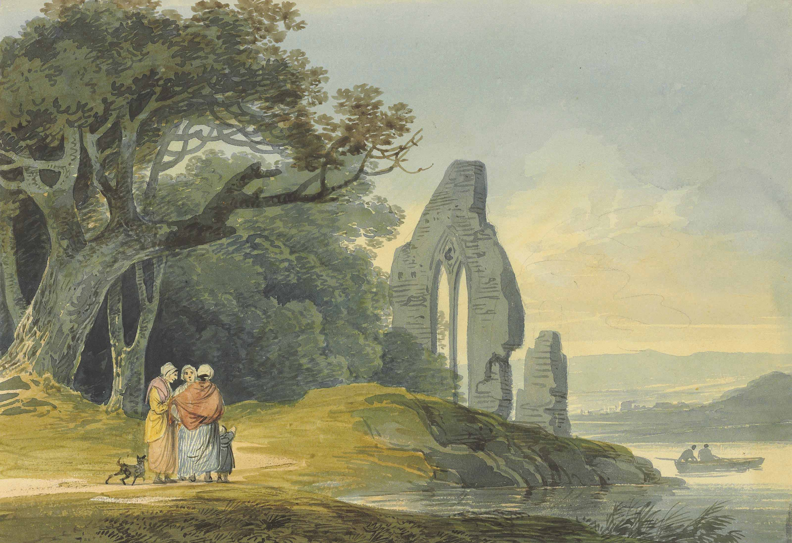 Four landscape studies: figures by a ruined church; figures on a track beside a cottage; travellers on a winding track, a tower beyond; figures on a winding track, a fortress and a bay beyond