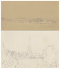 Two landscapes, one with a church spire seen across a meadow, traditionally identified as Christ Church, Oxford