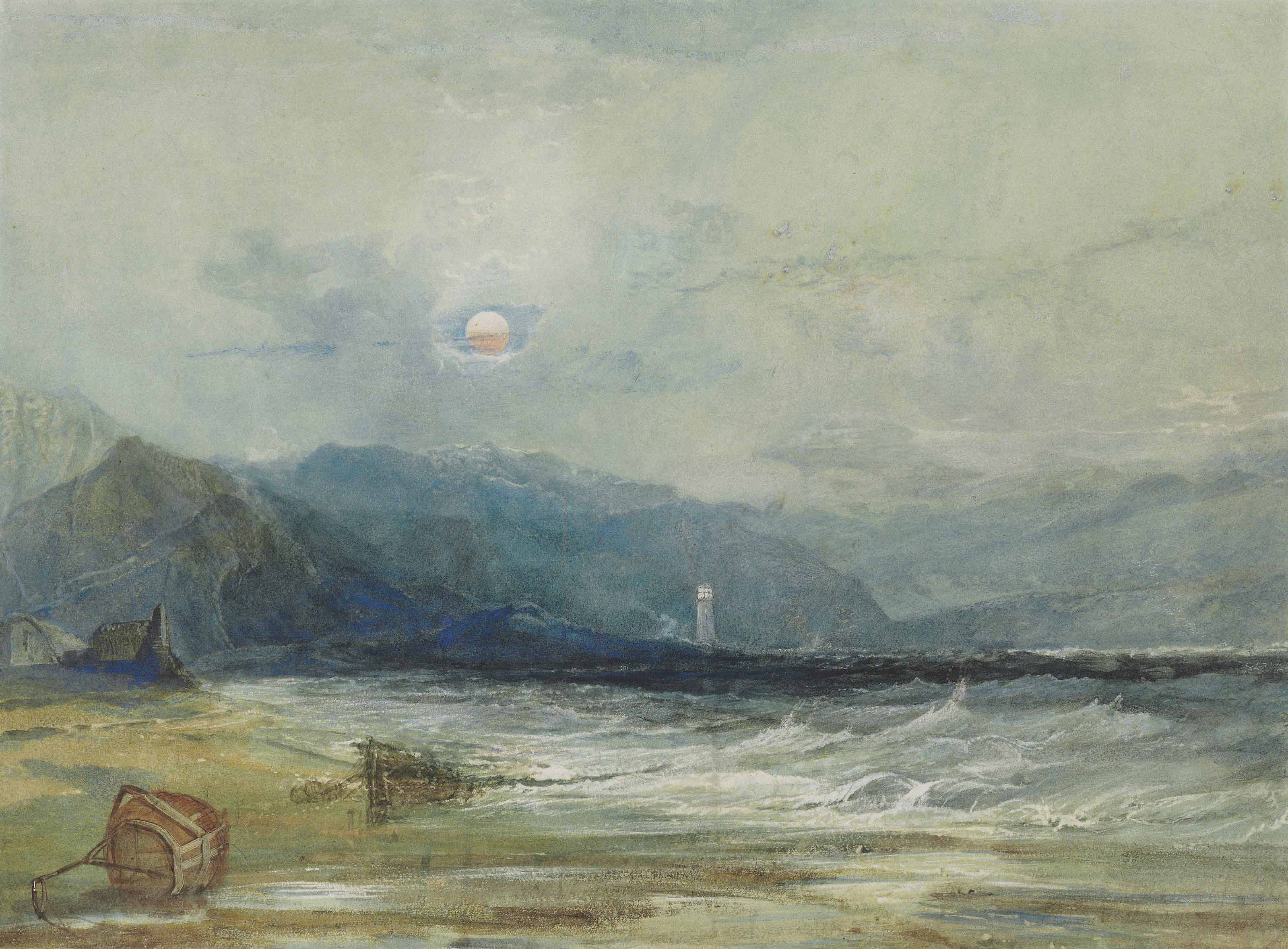 A lighthouse seen across a bay