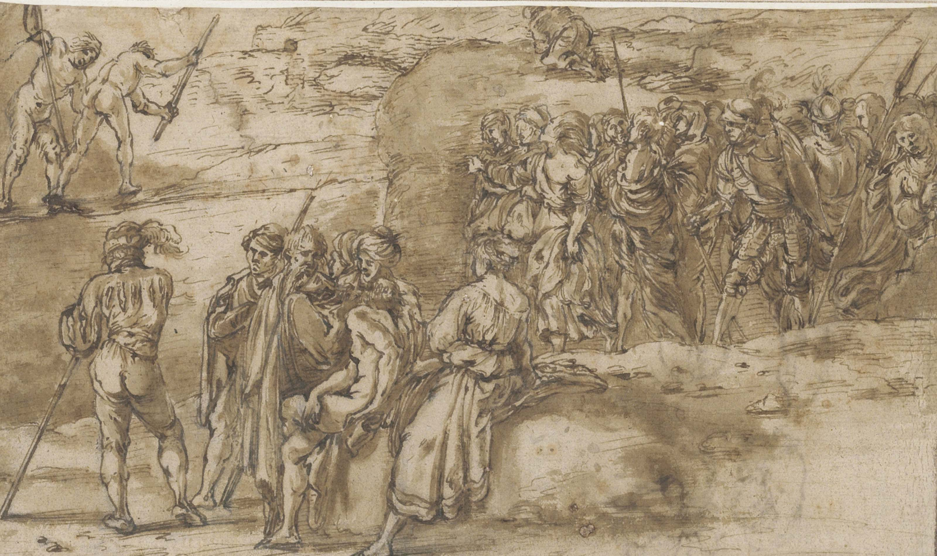 Seated and walking soldiers and other men and women in a rocky landscape (recto); Studies of shells (verso only visible through the recto)