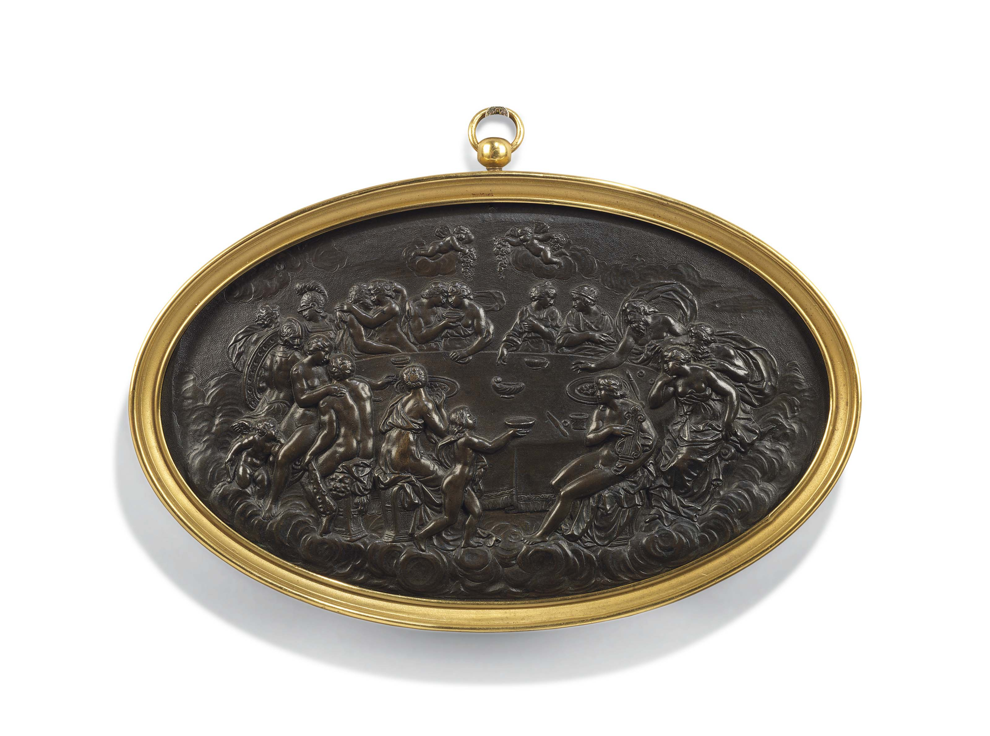 A BRONZE OVAL RELIEF OF THE FEAST OF THE GODS
