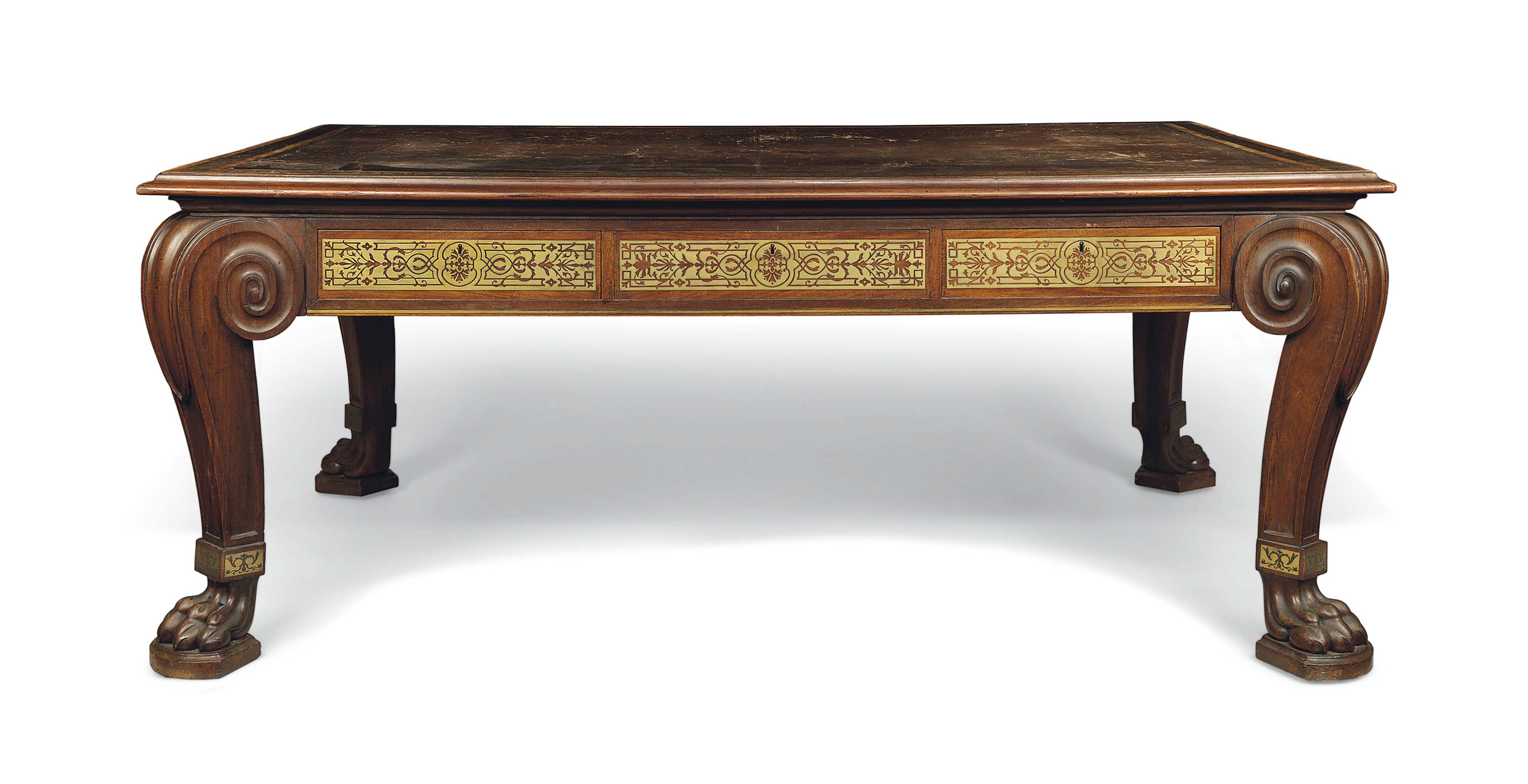 A REGENCY BRASS-INLAID ROSEWOOD LIBRARY TABLE