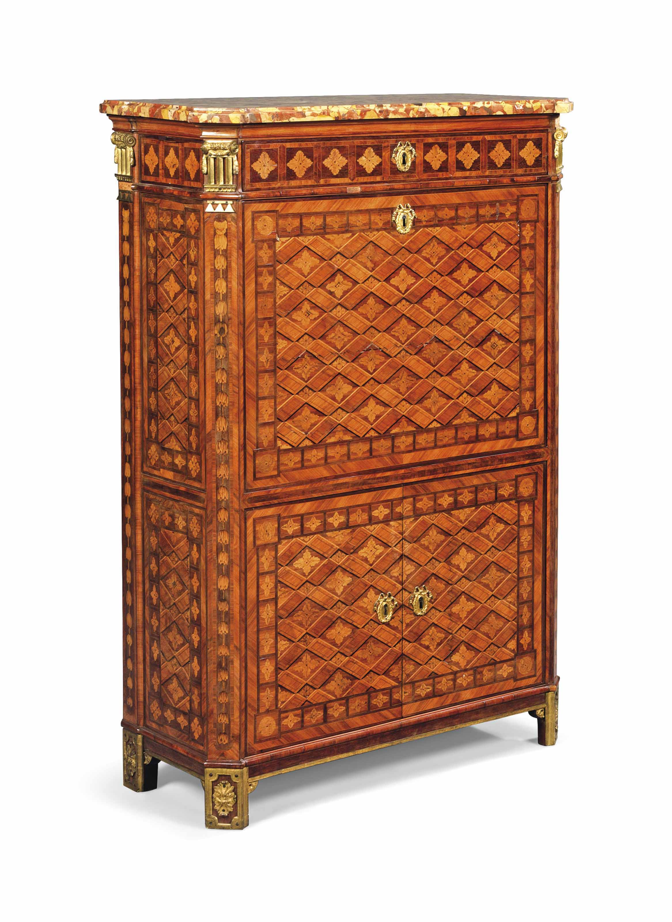 A LOUIS XVI ORMOLU-MOUNTED AMARANTH, BOIS SATINE AND TULIPWOOD, PARQUETRY AND MARQUETRY SECRETAIRE A ABATTANT