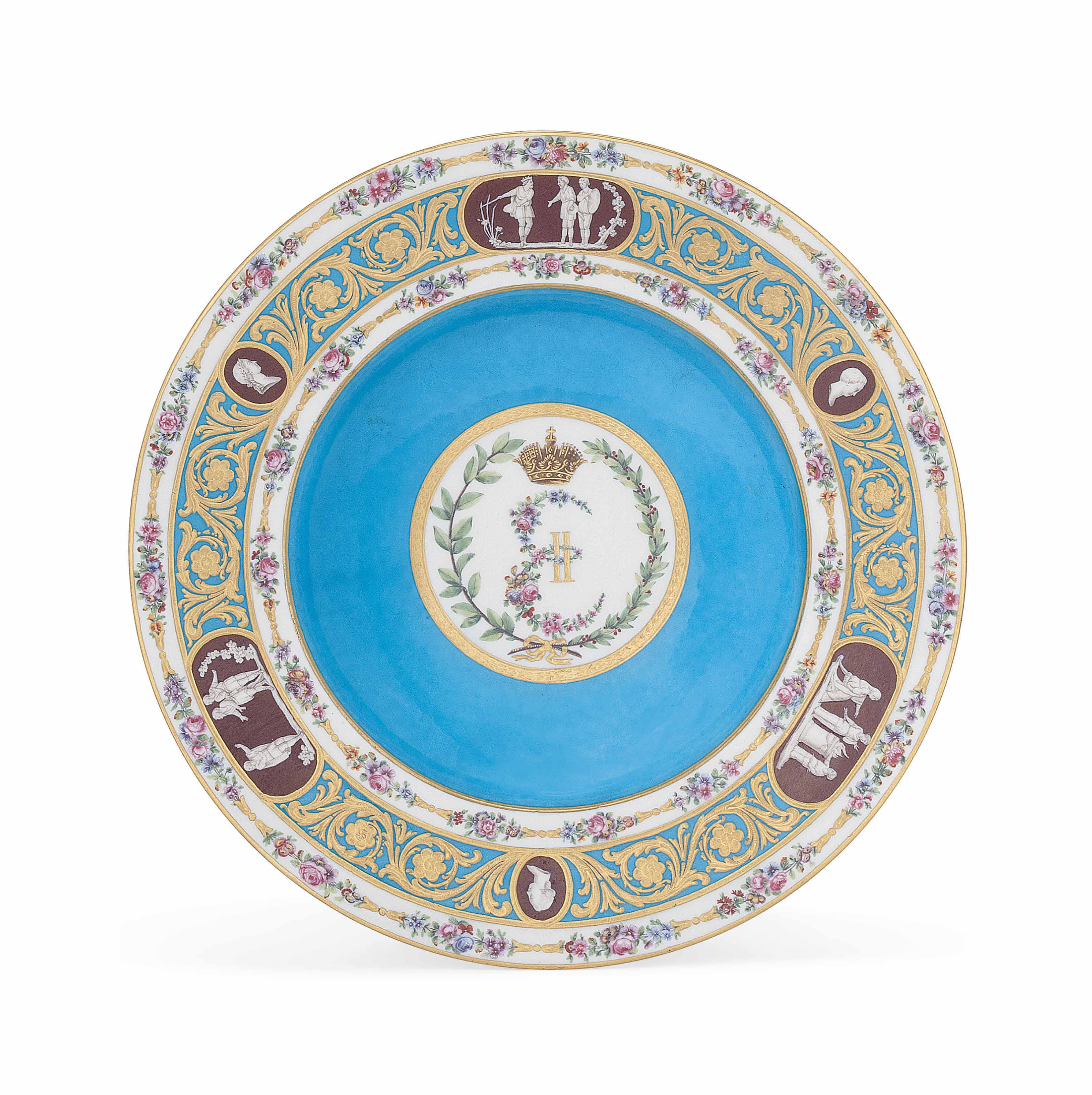 A SEVRES BLEU CELESTE-GROUND SOUP-PLATE FROM THE CATHERINE THE GREAT SERVICE