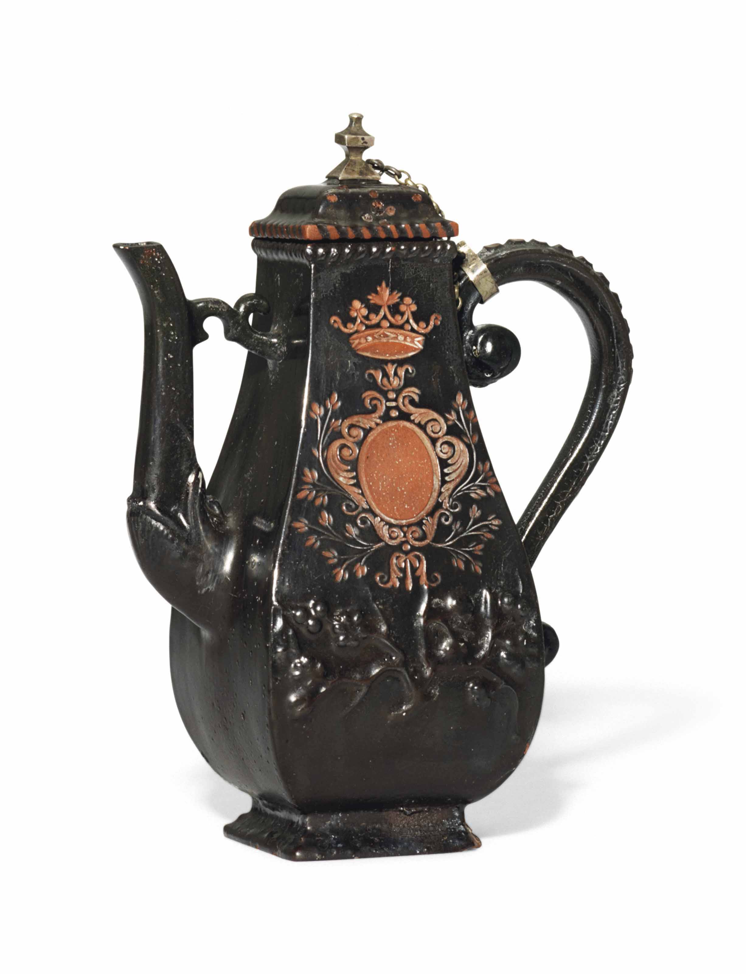 A BÖTTGER BLACK-GLAZED RED STONEWARE COFFEE-POT AND COVER