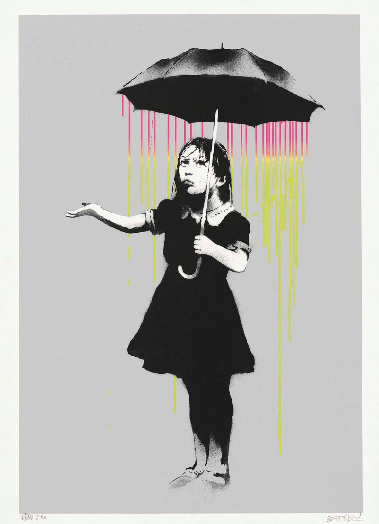 Banksy (b. 1975), NOLA (Pink to Yellow Rain), 2008. 2008. Screenprint in colours, signed. Image 640 x 440 mm. Sheet 755 x 550 mm. Sold for £90,000 on 19 September 2017 at Christie's in London. Artwork Courtesy of Pest Control Office