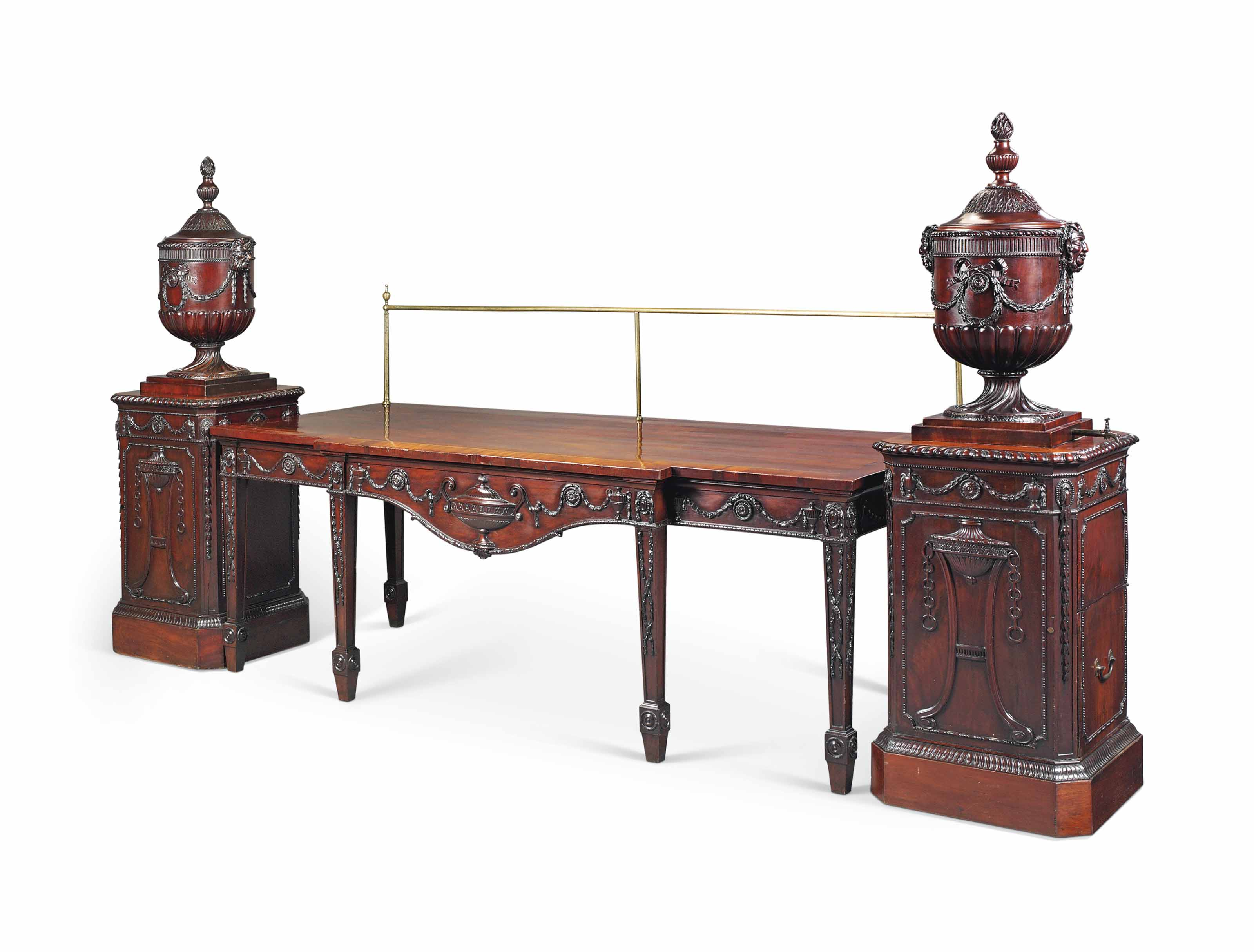 A GEORGE III MAHOGANY SERVING-TABLE AND PAIR OF URNS AND PEDESTALS EN SUITE