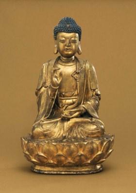 A GILT-BRONZE FIGURE OF BUDDHA