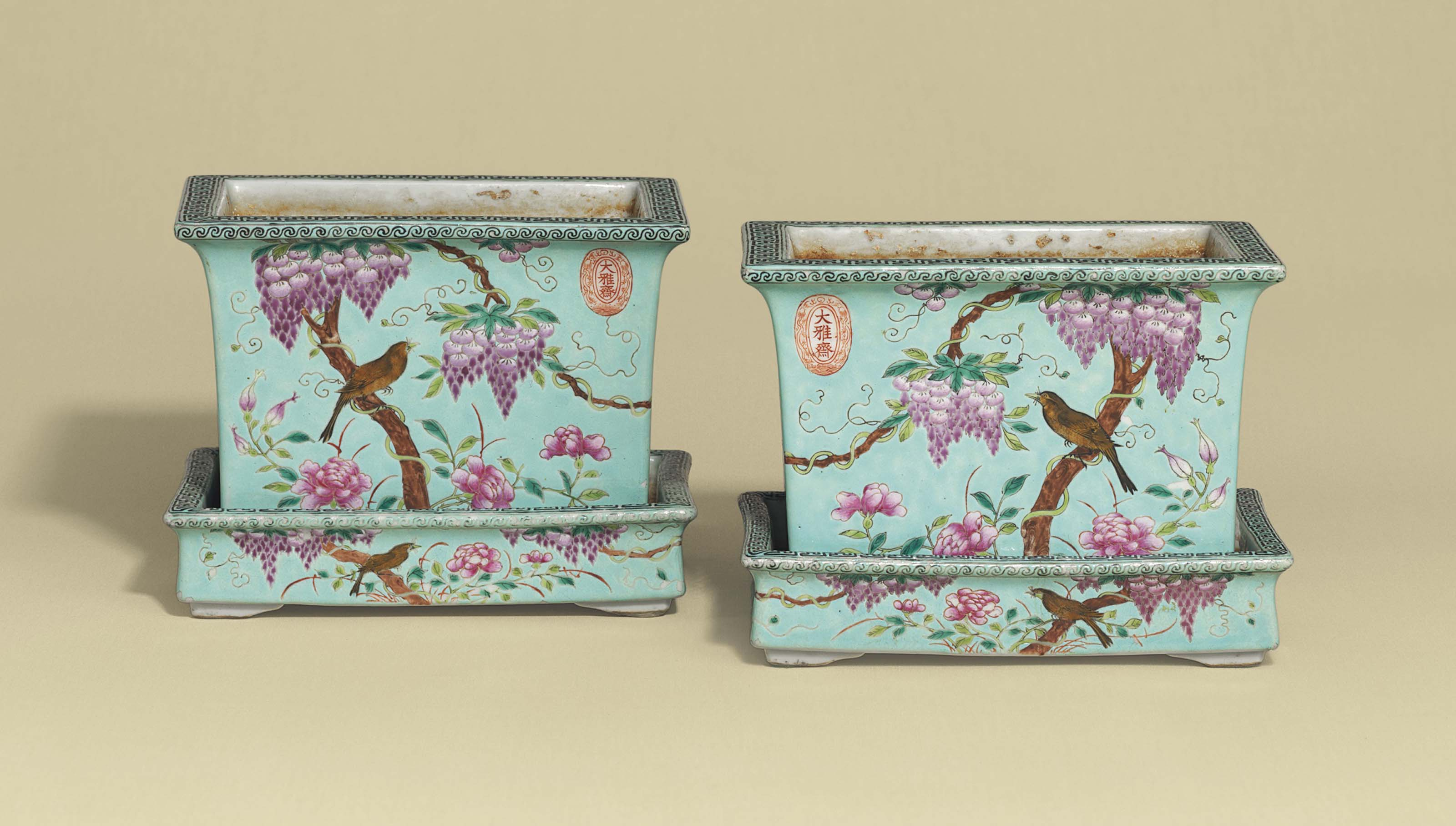 A PAIR OF DAYAZHAI FAMILLE ROSE TURQUOISE GROUND RECTANGULAR JARDINIÈRES AND STANDS