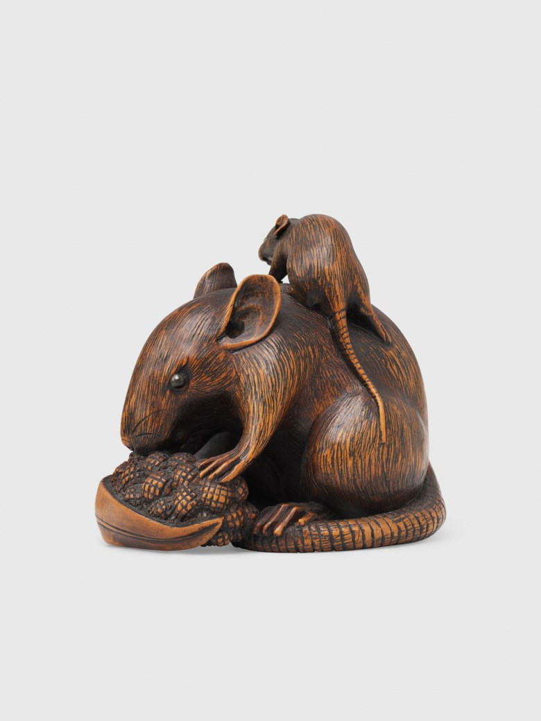 A wood netsuke of a rat with two young, signed Ikko, Edo period (19th century). 4.8 cm high. Sold for £2,500 on 5 December 2017 at Christie's in London