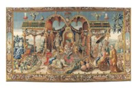A BERLIN CHINOISERIE TAPESTRY DEPICTING 'THE AUDIENCE OF THE PRINCE'