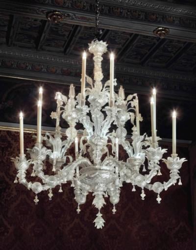 A VENETIAN GLASS TWELVE-LIGHT