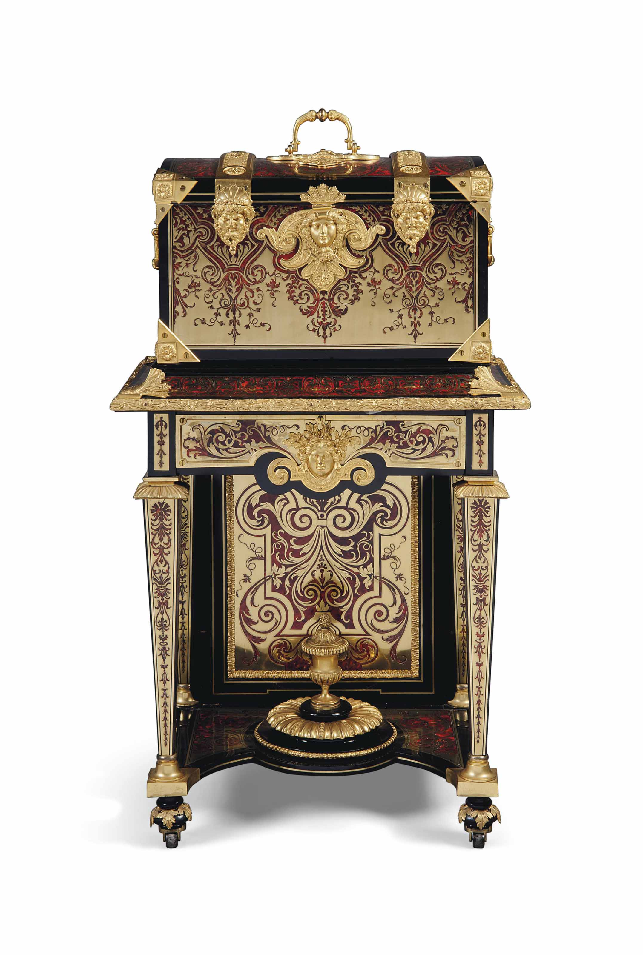 A REGENCY ORMOLU-MOUNTED, TORTOISESHELL AND BRASS-INLAID 'BOULLE' MARQUETRY MARRIAGE COFFER
