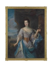 Portrait of a lady, three-quarter-length, in a blue dress and an ermine-lined blue cloak, a villa beyond