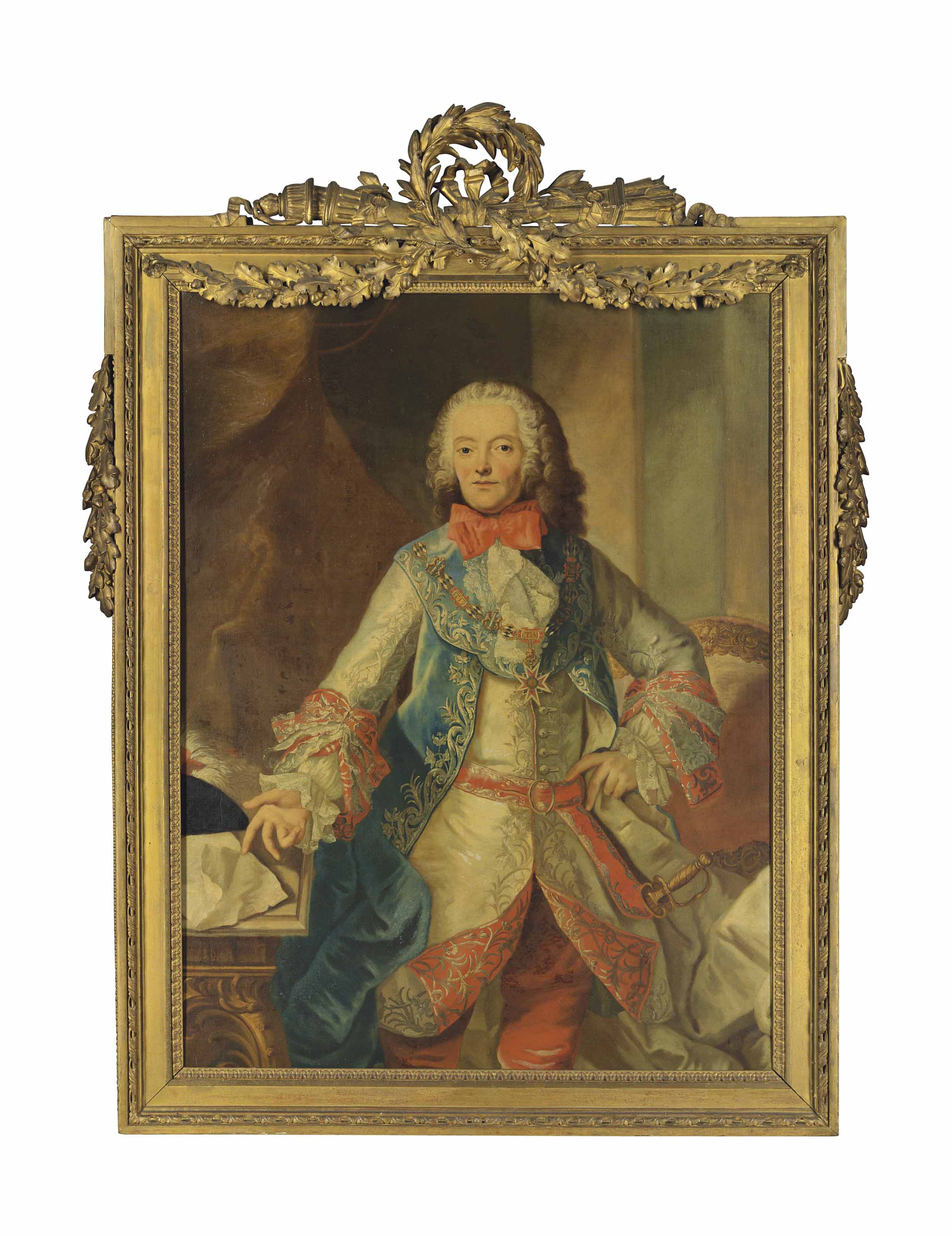Portrait of Johann Maximilian IV, Comte Preysing-Hohenaschau (1687-1764), three-quarter-length, wearing the collar of the Order of Saint George