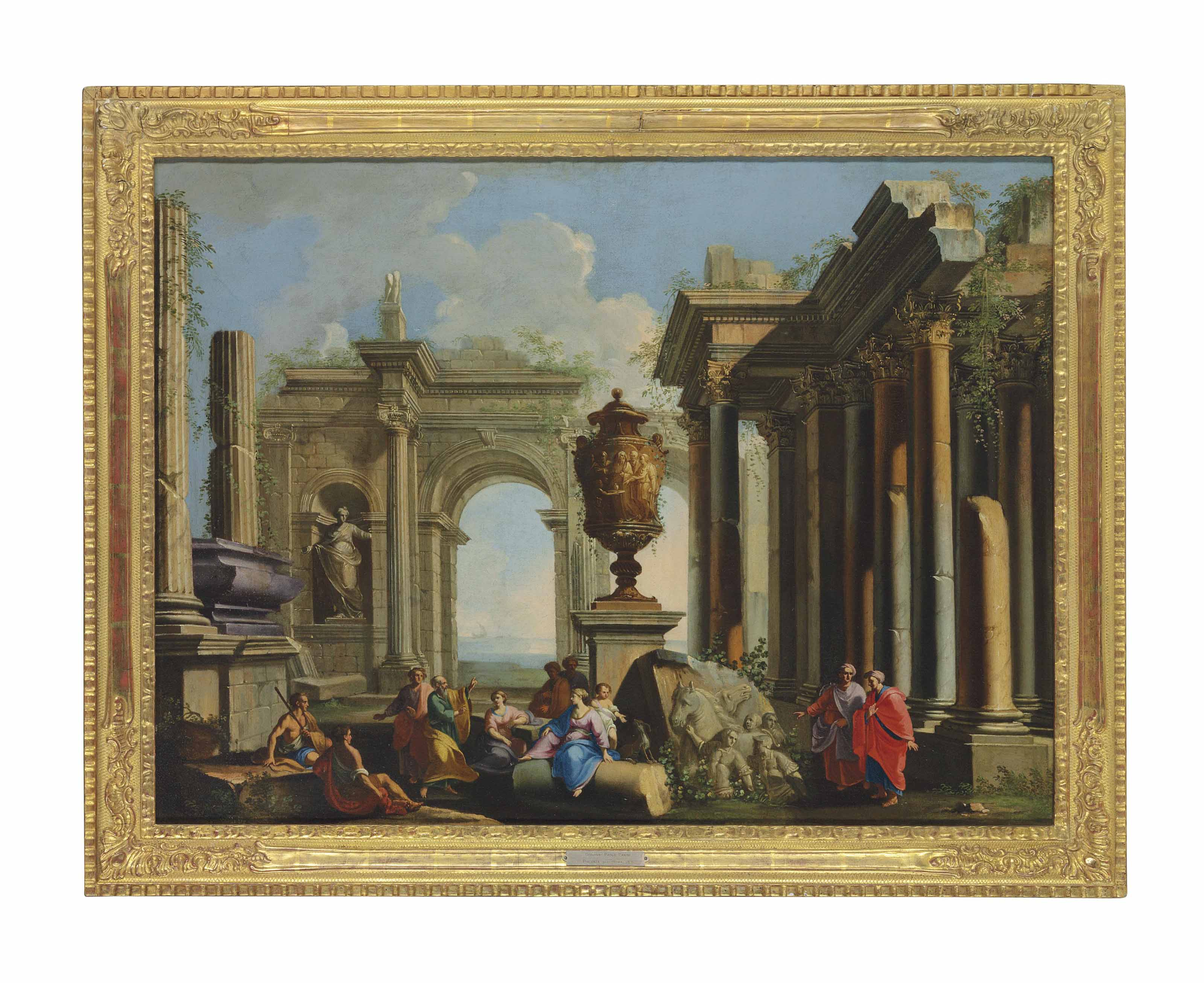 An architectural capriccio with an apostle preaching among ruins