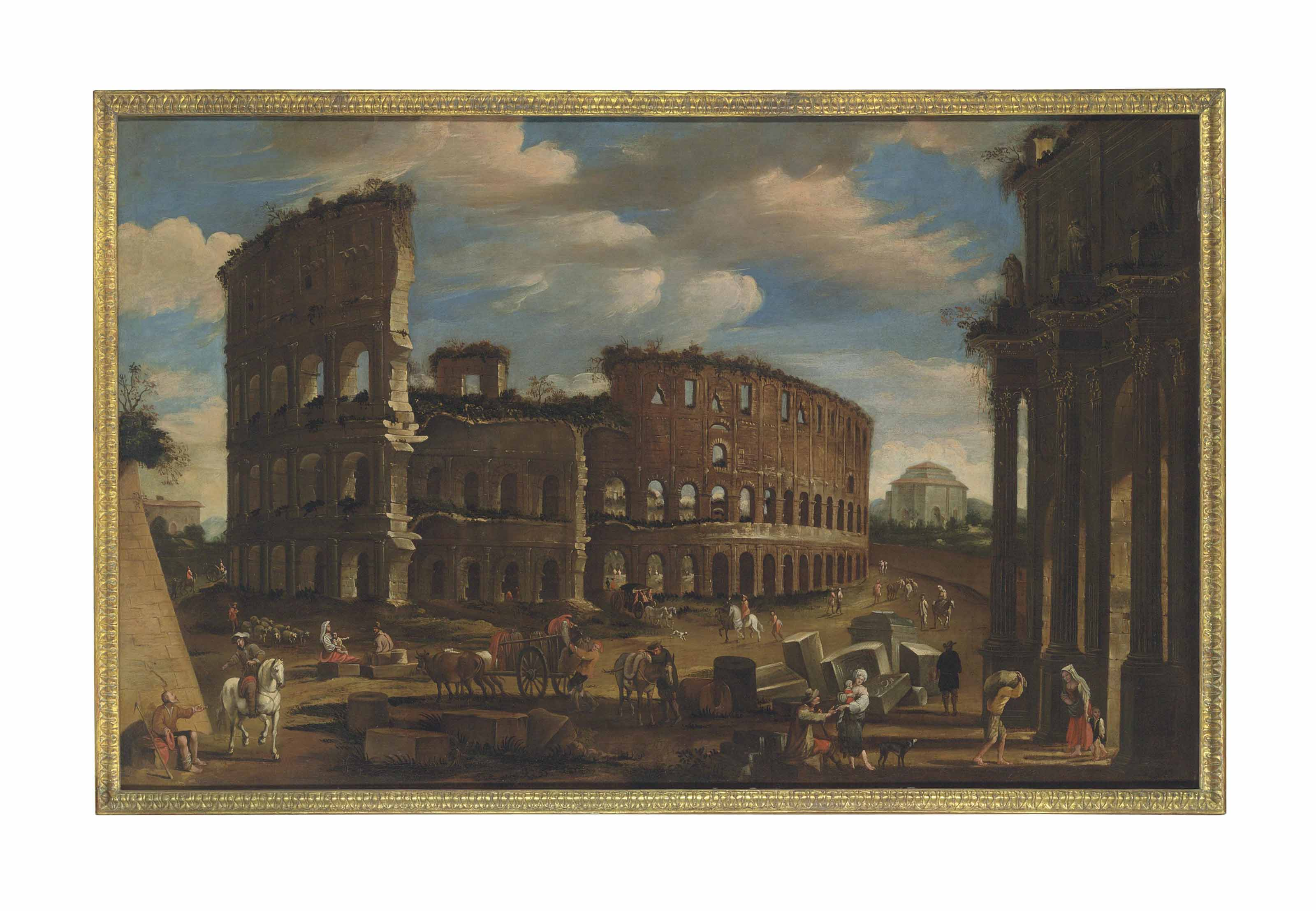 An architectural capriccio with figures bustling before the Colosseum