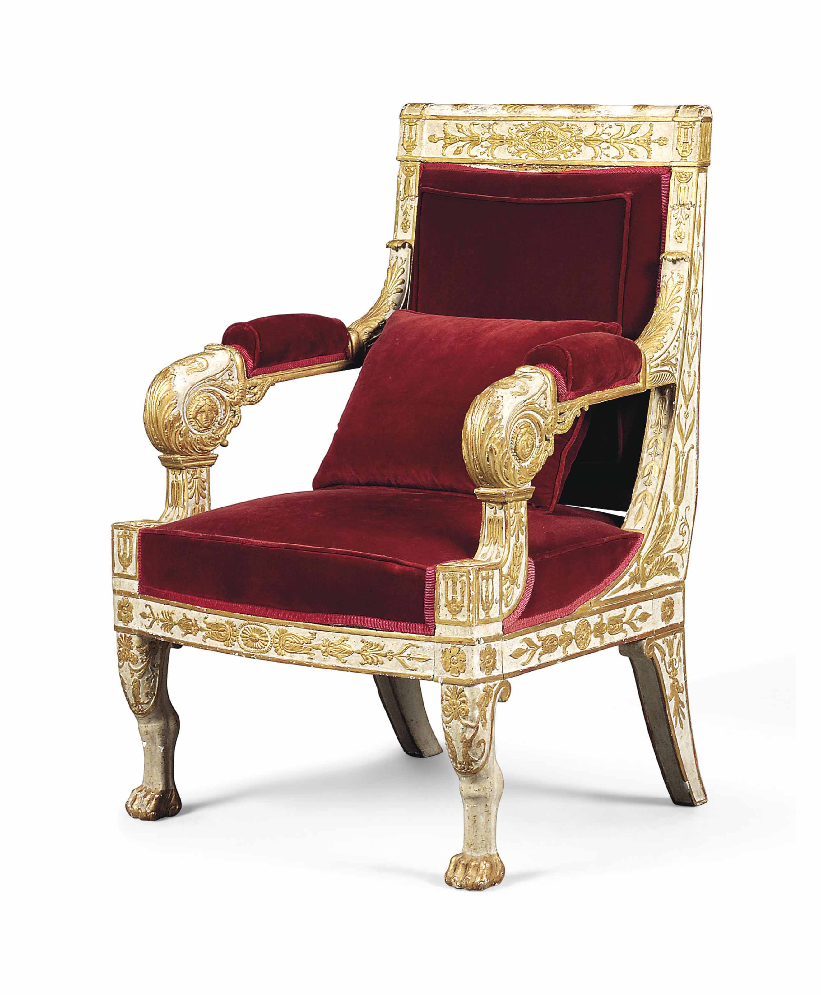 AN EMPIRE PARCEL-GILT AND WHITE-PAINTED FAUTEUIL
