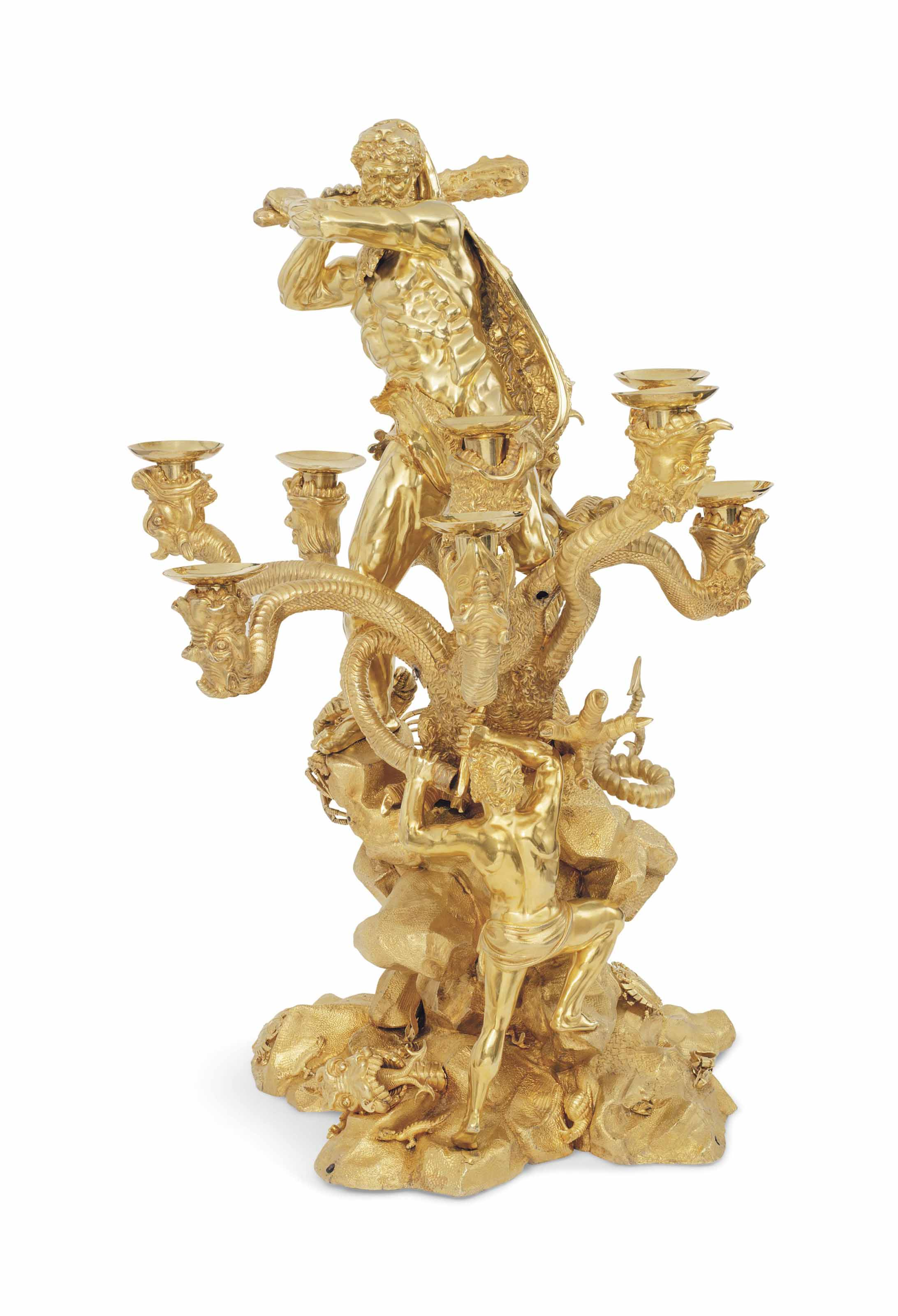 THE DUKE OF YORK CENTREPIECE A MASSIVE GEORGE IV SILVER-GILT NINE-LIGHT CANDELABRUM CENTREPIECE