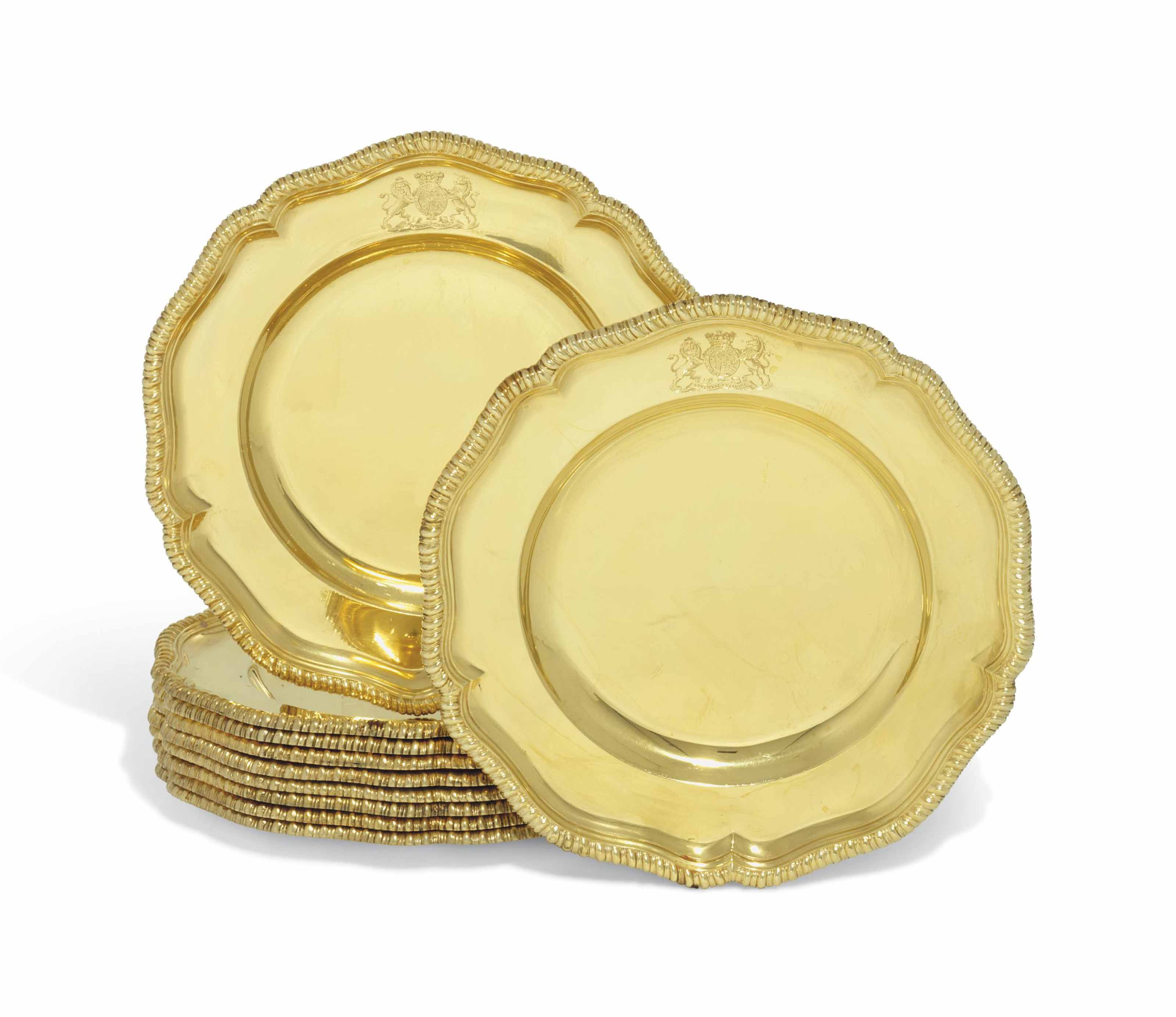 A SET OF TEN GEORGE III SILVER-GILT DINNER-PLATES FROM THE CUMBERLAND SERVICE