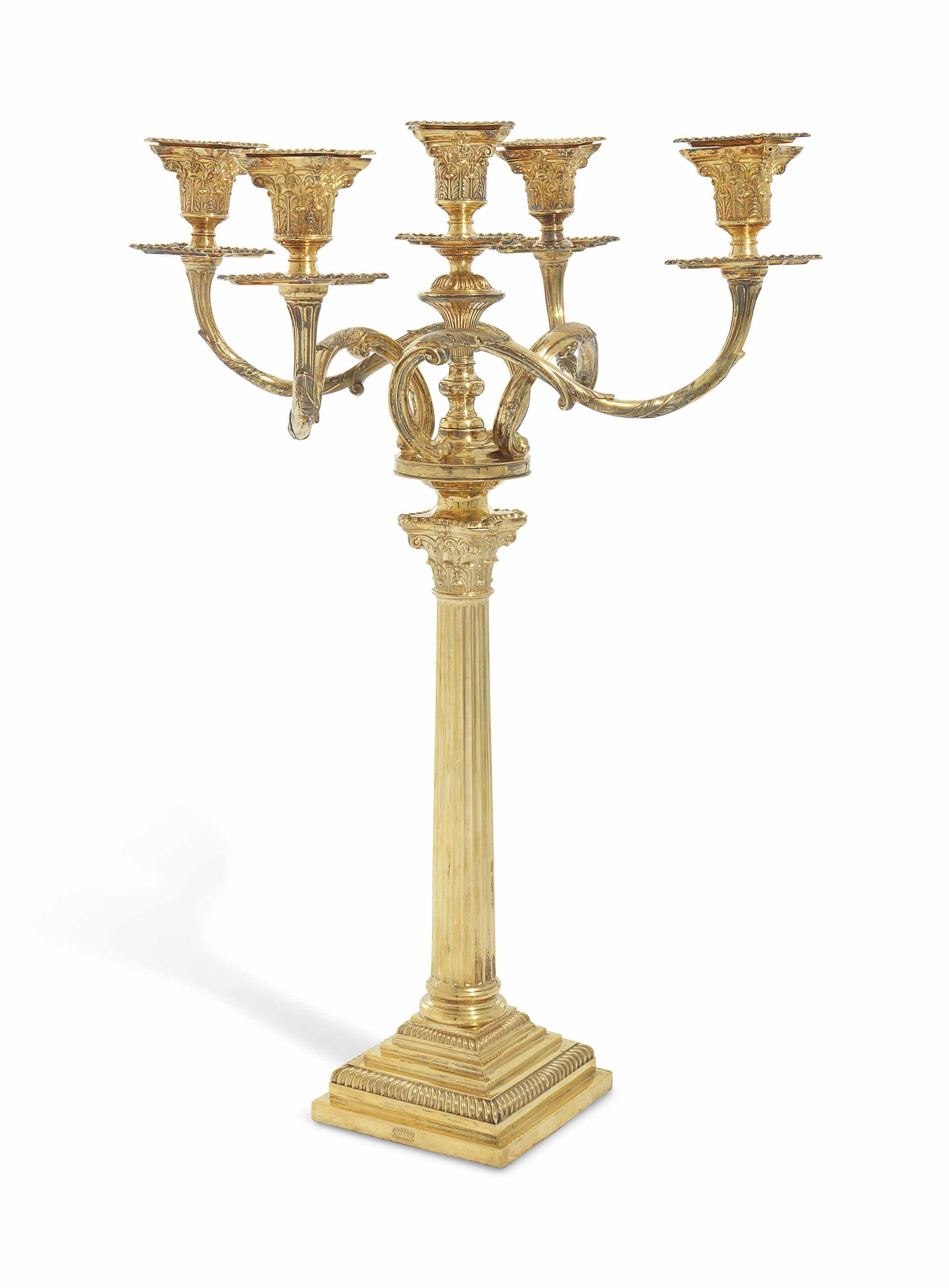 A LATE VICTORIAN SILVER-GILT FIVE-LIGHT CANDELABRUM