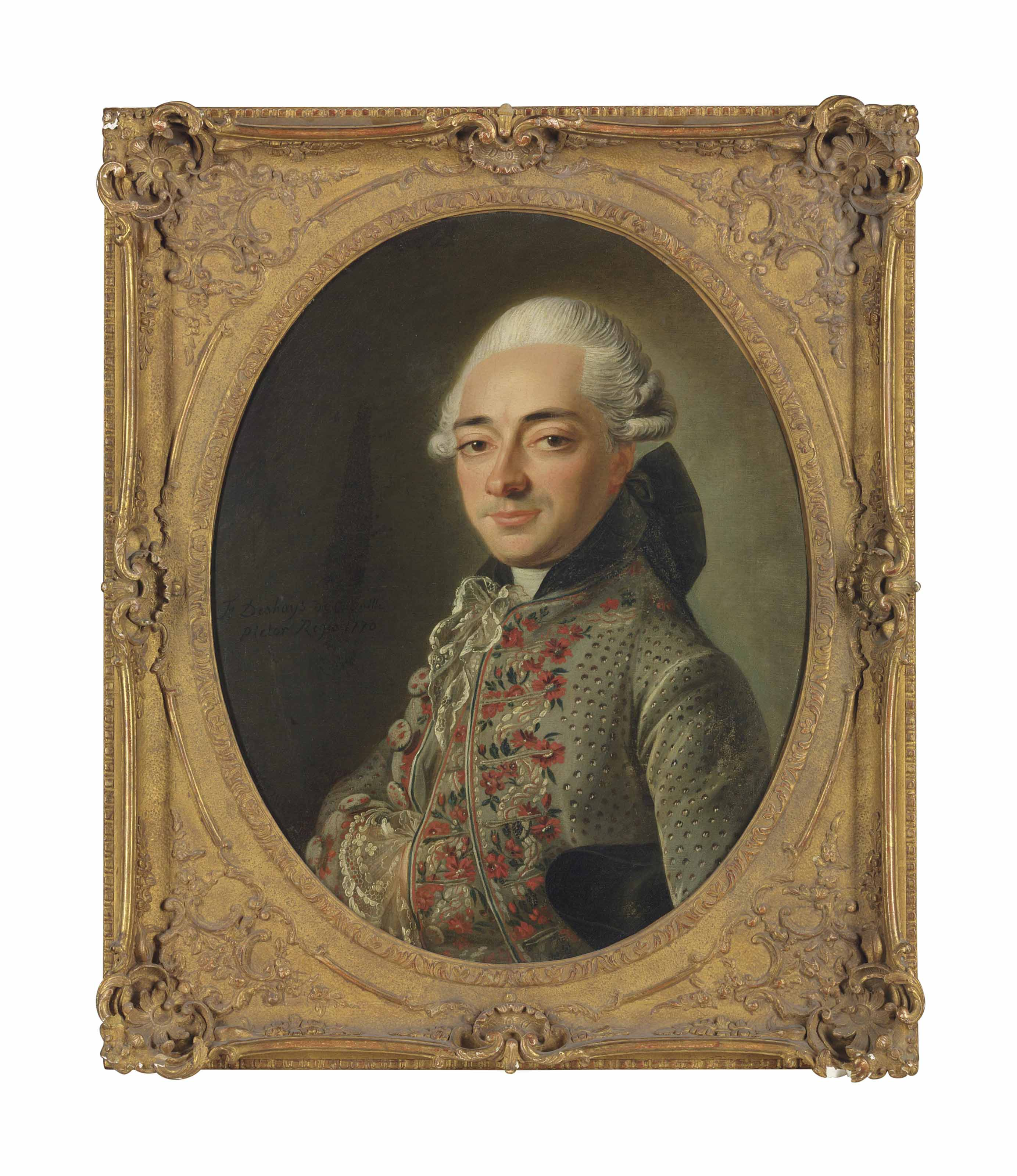 Portrait of a gentleman, half-length, in a grey embroidered coat