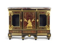 A FRENCH ORMOLU-MOUNTED BRASS-INLAID AND TORTOISESHELL 'BOULLE' MARQUETRY AND EBONY BIBLIOTHEQUE BASSE