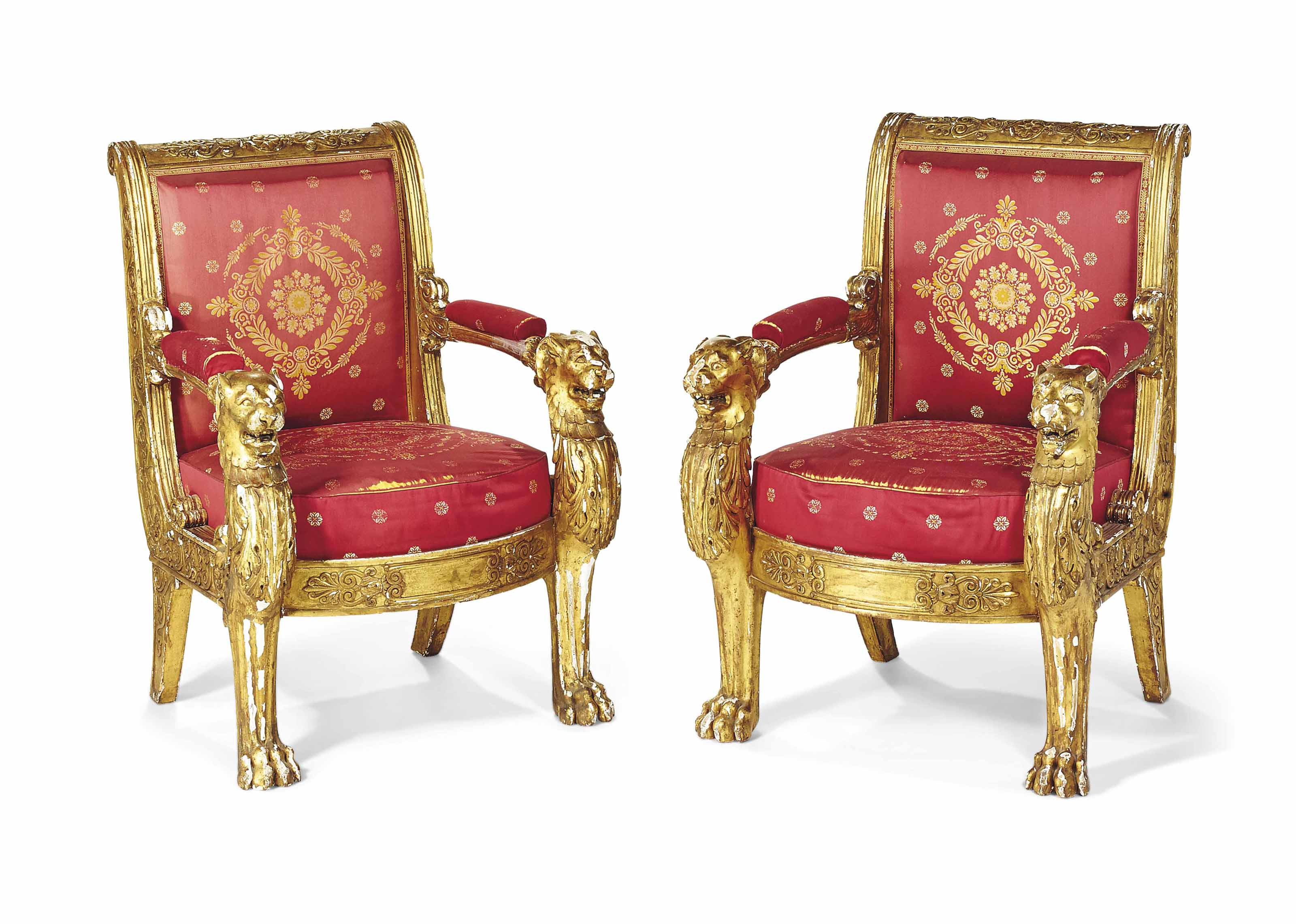 A PAIR OF RESTAURATION GILTWOOD ARMCHAIRS