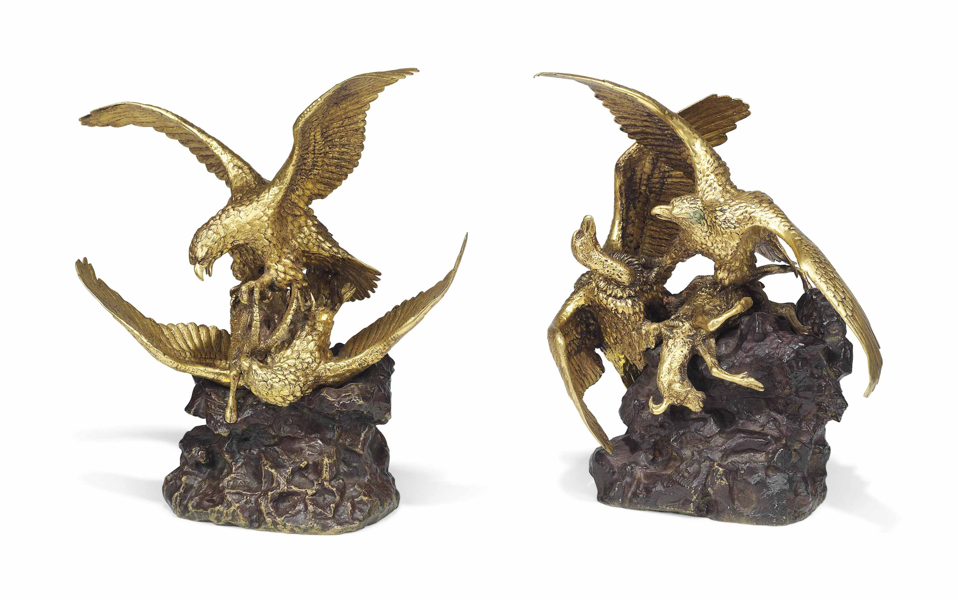 Two French Gilt And Red Patinated Bronze Groups Of Birds Of Prey Attacking Mountain Goats Second Half 19th Century Cast From The Model By Christophe Fratin 1801 1864 Sculptures Statues Figures