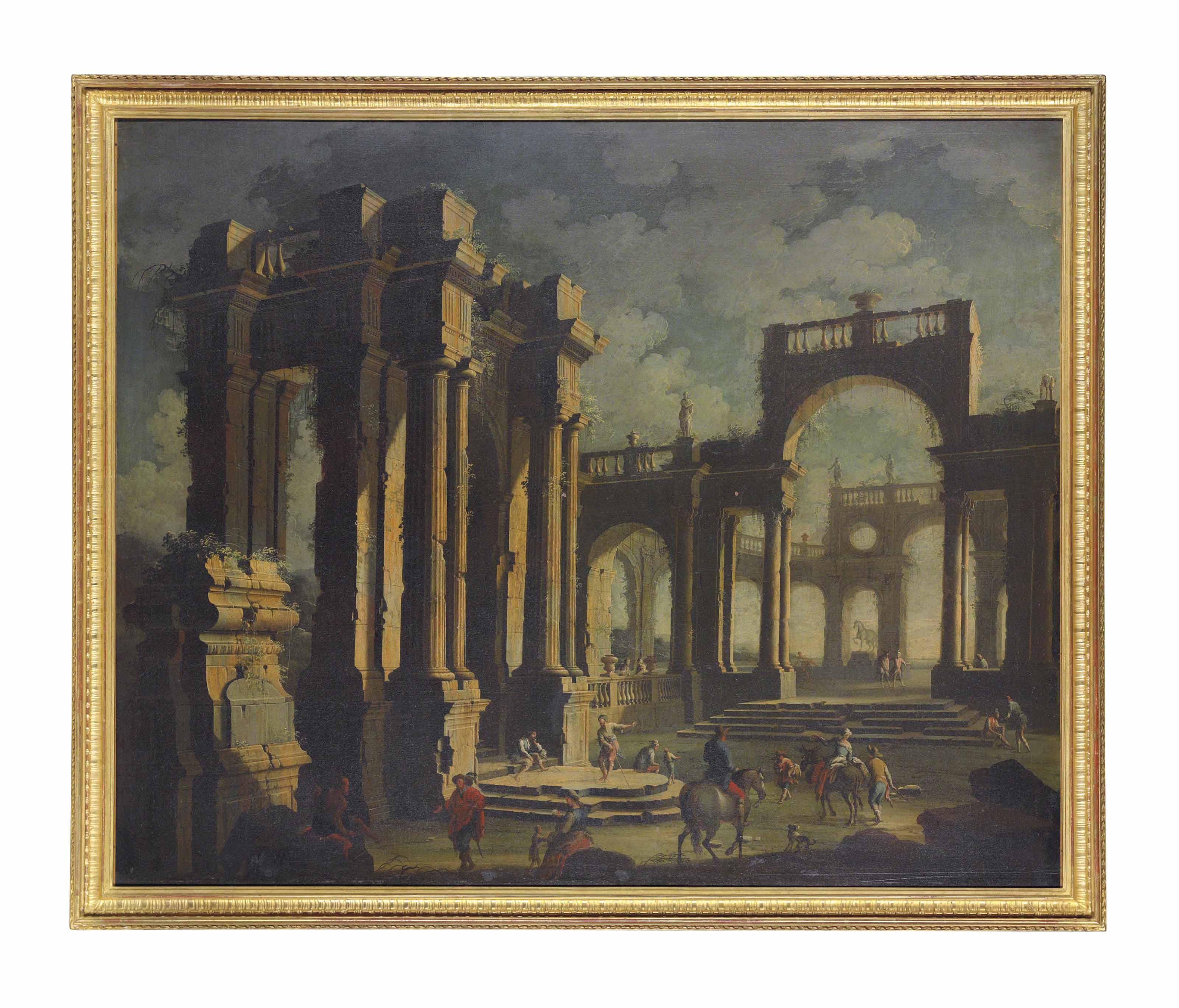 An architectural capriccio of figures among classical ruins