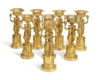 A SET OF EIGHT FRENCH ORMOLU CENTREPIECES