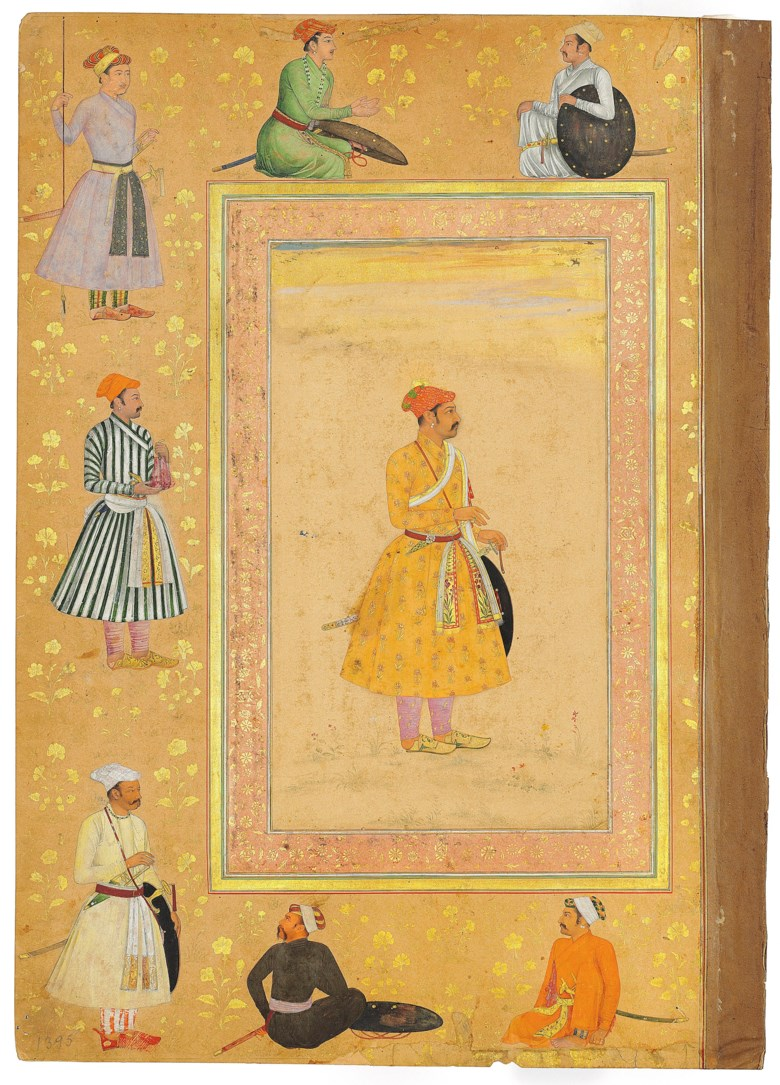 Portrait of Jai Singh Kachhawa of Amber (recto), Nasta'liq quatrain from the Bustan of Sa'di written by Mir'ali (verso). The painting attributed to Payag, Mughal India, circa 1640-45; the calligraphy signed by Mir'ali, Herat, Afghanistan, late 15th  early 16th century. Painting 8½ x 4⅞ in (21.6 x 12.4 cm); calligraphy 5¾ x 3¼ in (14.6 x 8.6 cm); folio