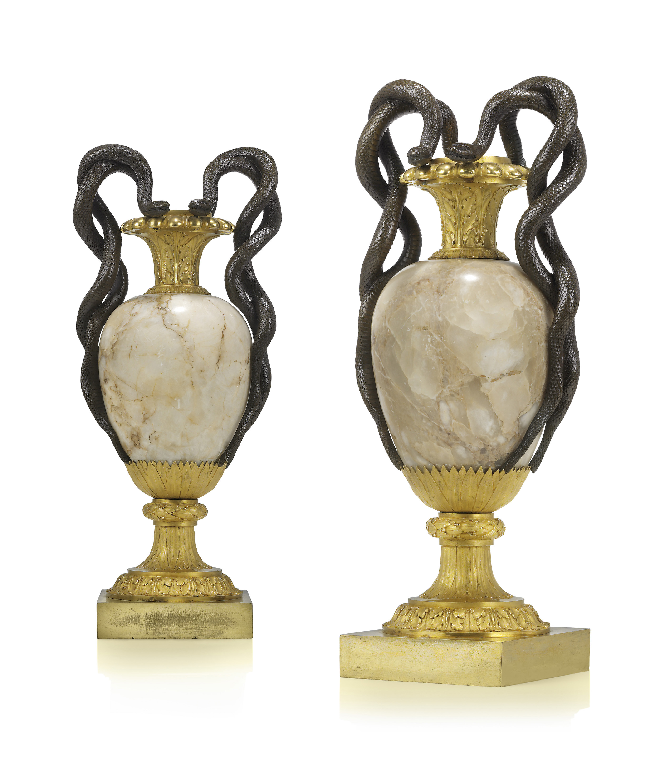 A PAIR OF LATE LOUIS XVI PATINATED-BRONZE AND ORMOLU
